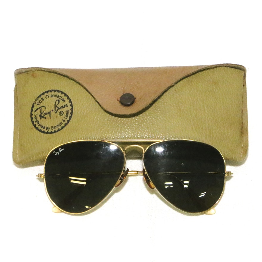 b9107e78b4 Vintage Ray-Ban Aviator Sunglasses with Case   EBTH