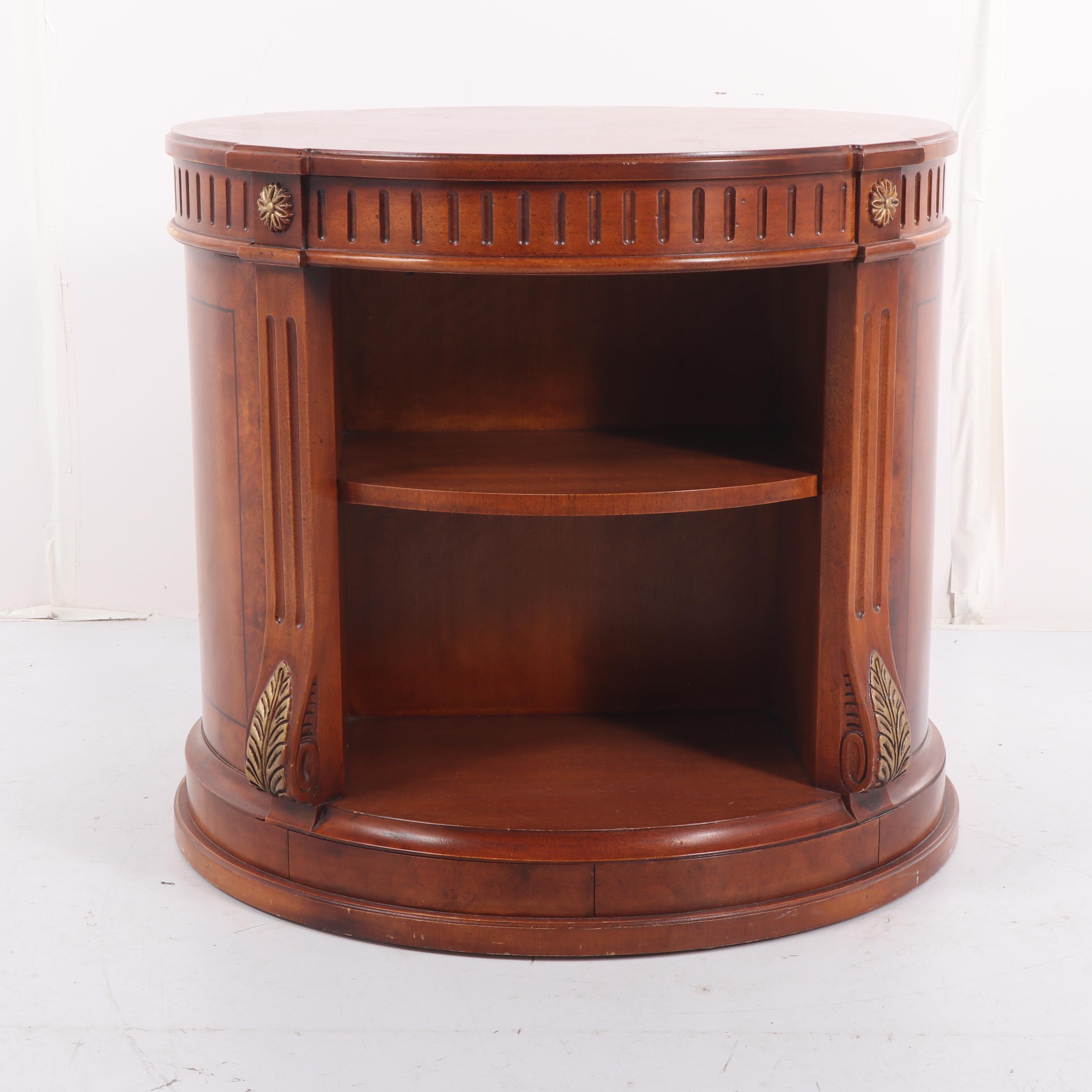 Federal Style Mahogany Finish Circular Side Table, 20th Century