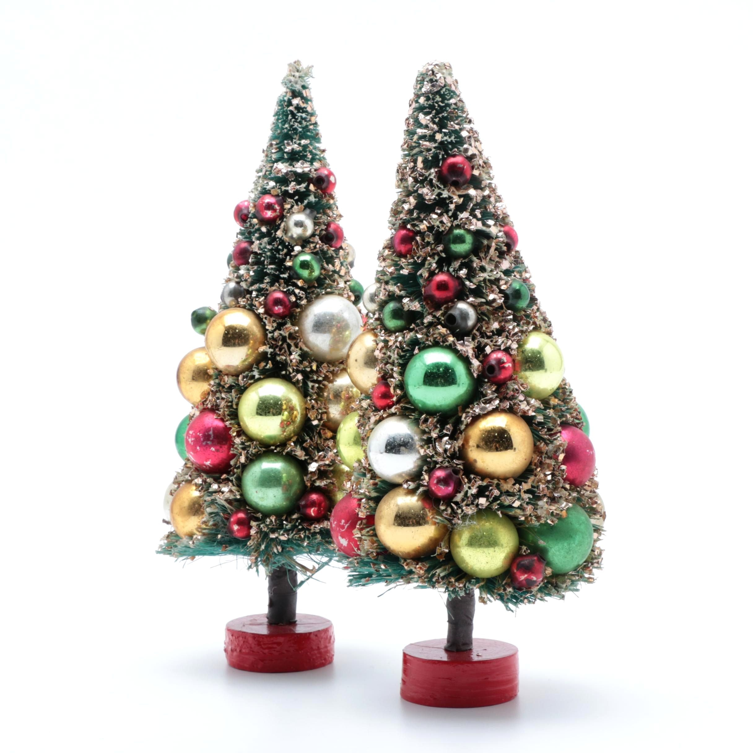 Pair of Vintage Embellished Holiday Bottle Brush Trees
