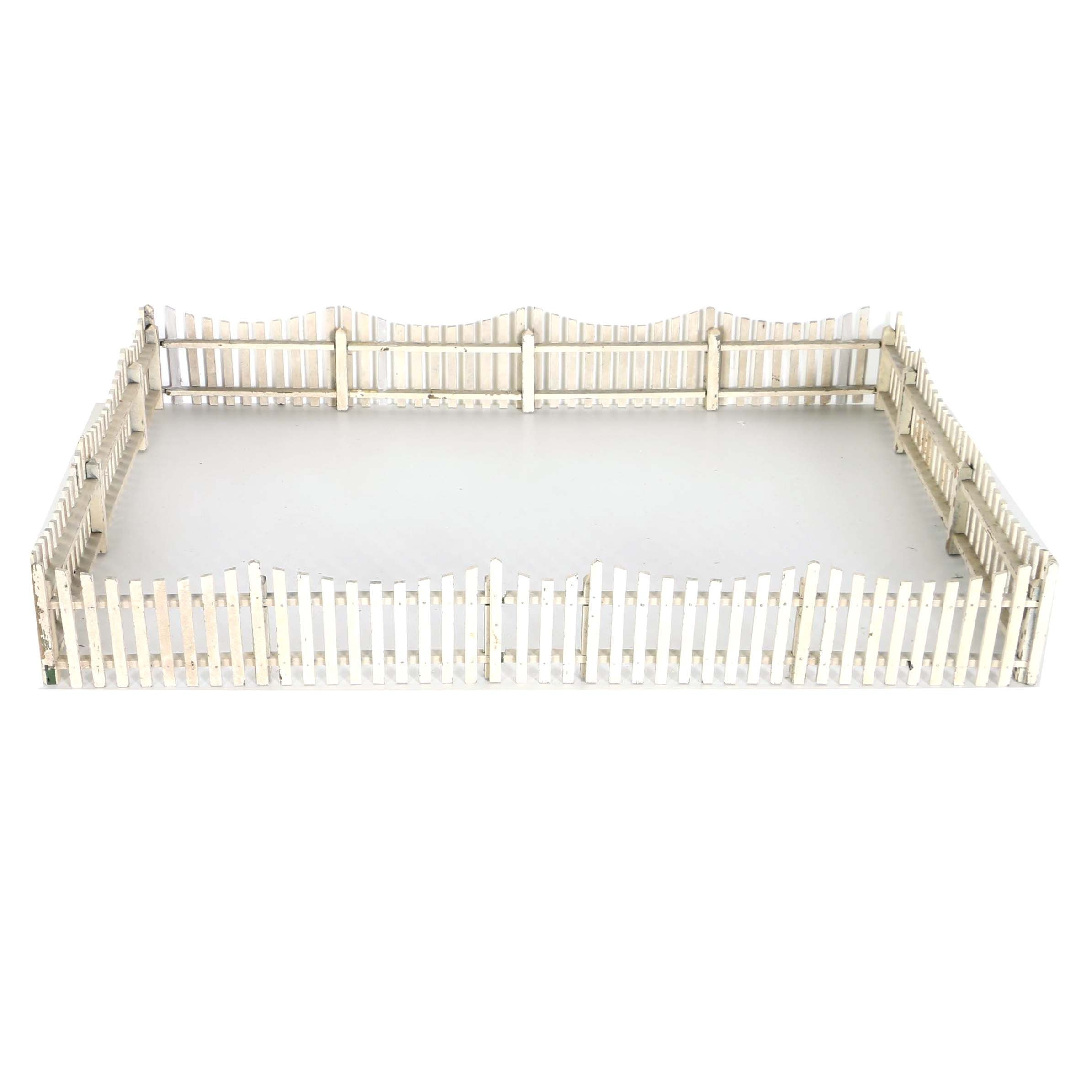 Antique Folk Art White Picket Fencing To Surround Feather Tree