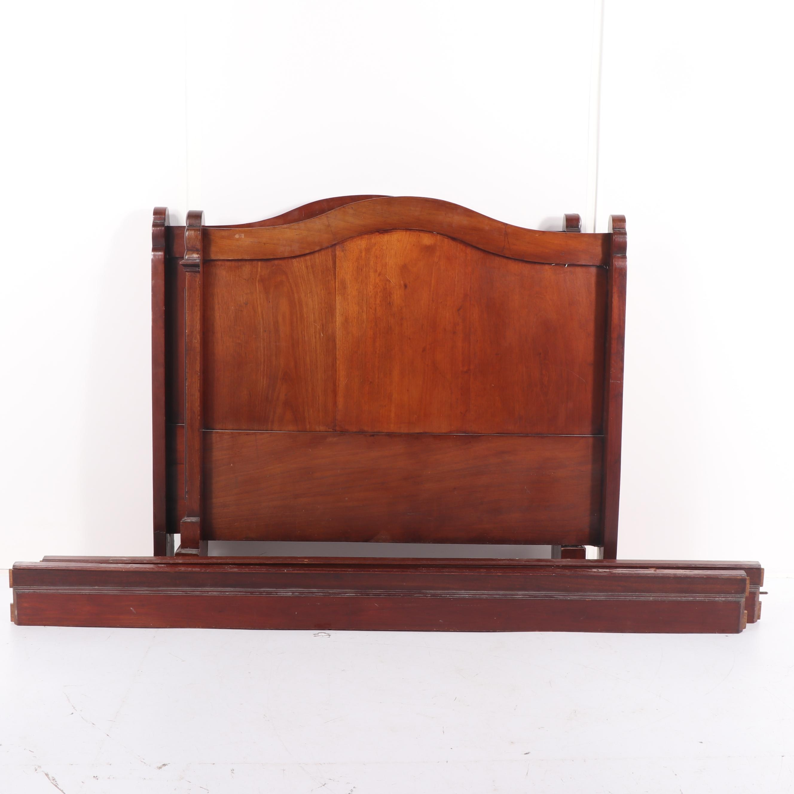 Renaissance Revival Style Mahogany Full Size Bed Frame, Mid 20th Century