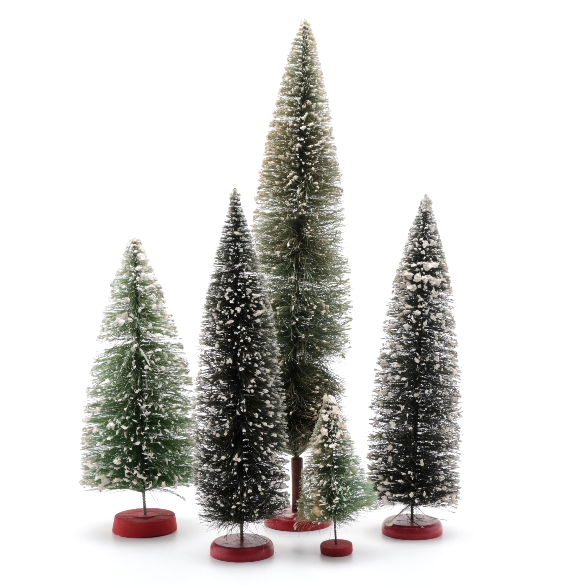 Five Vintage Bottle Brush Trees with Glittery Flocked Snow