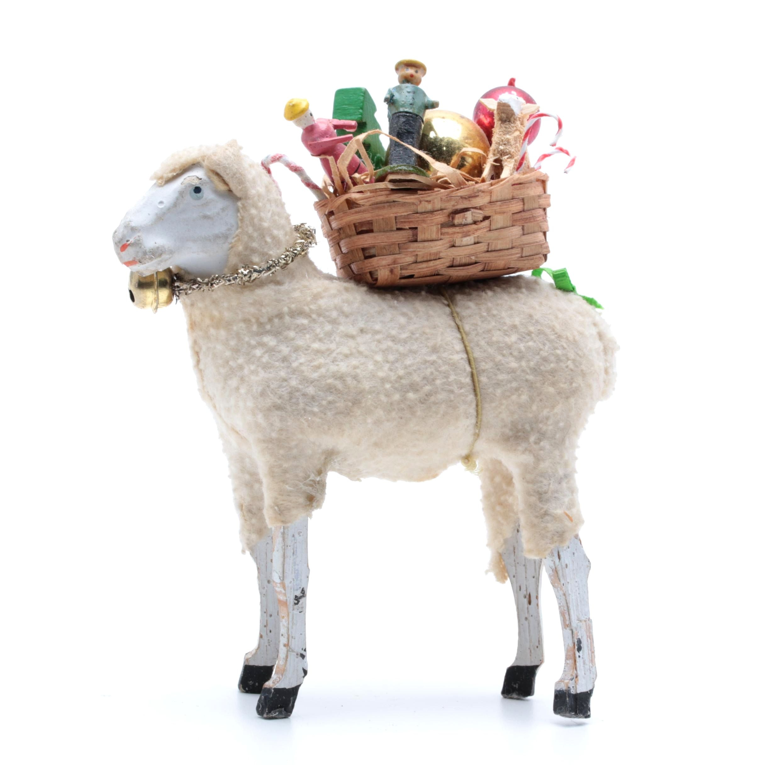 Antique German Putz Sheep With Basket Of Goodies