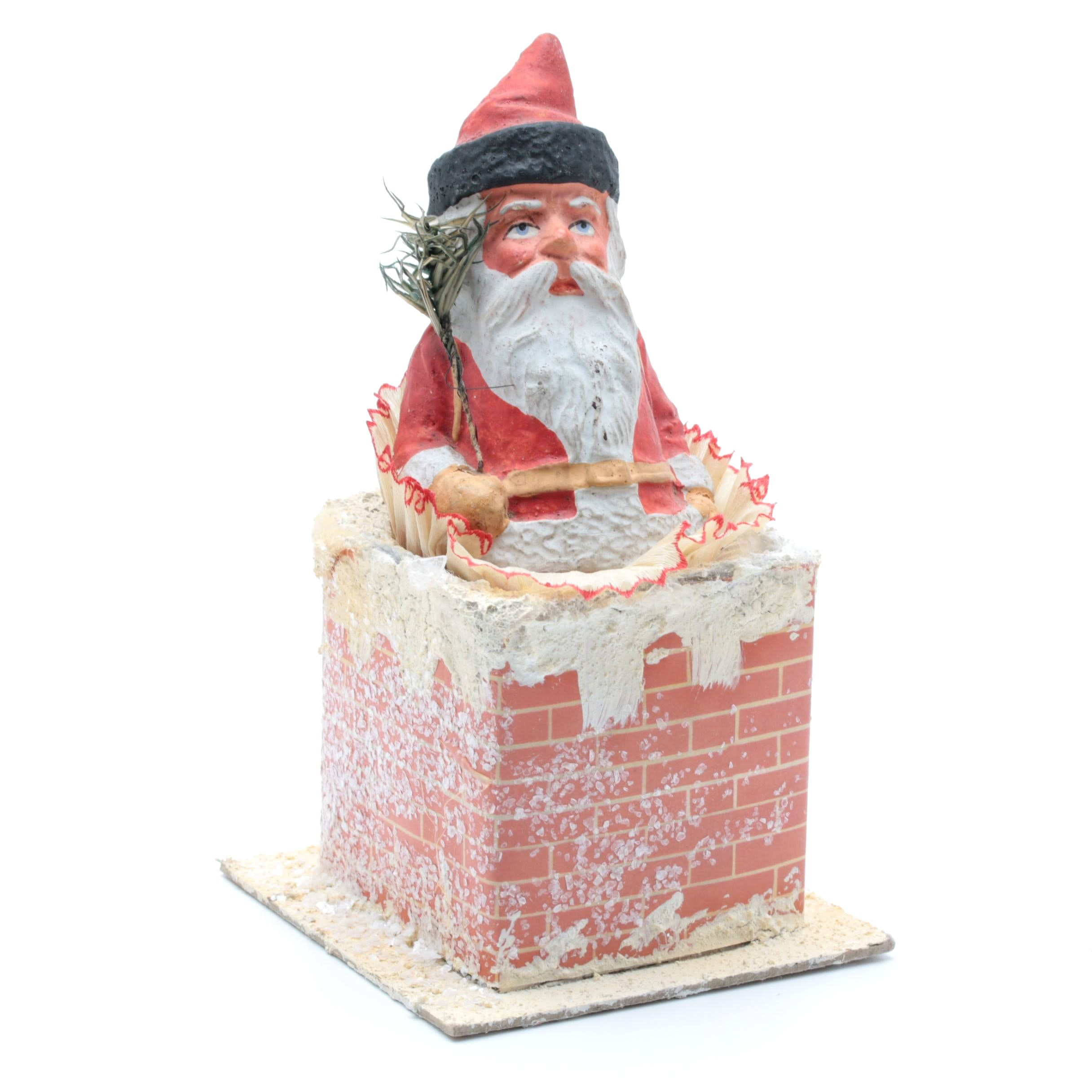 Victorian German Papier-Mâché Santa in a Chimney Candy Container