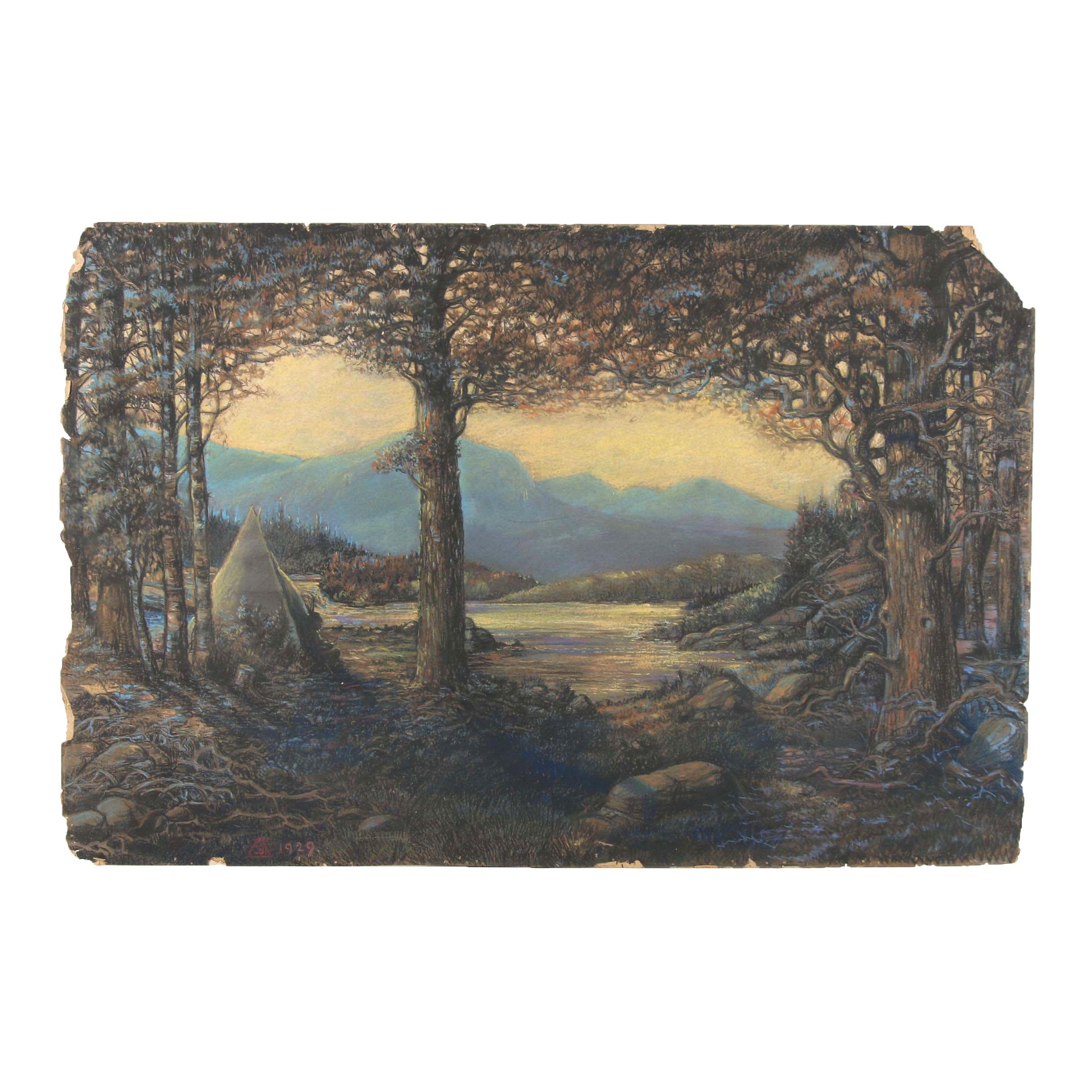 1929 Pastel Illustration of Western Landscape