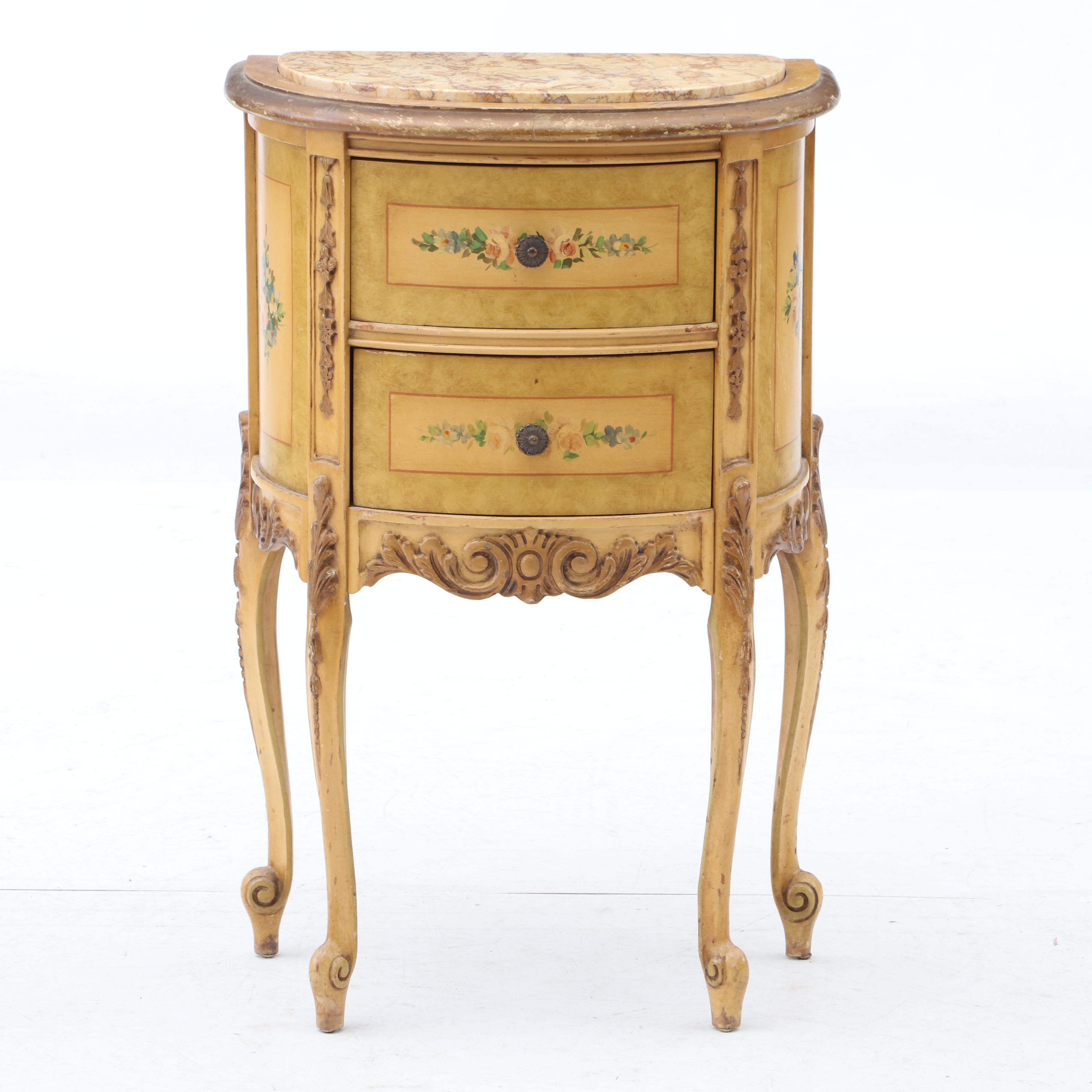 Louis XVI Style Painted Wood and Marble Side Table, Late 20th Century