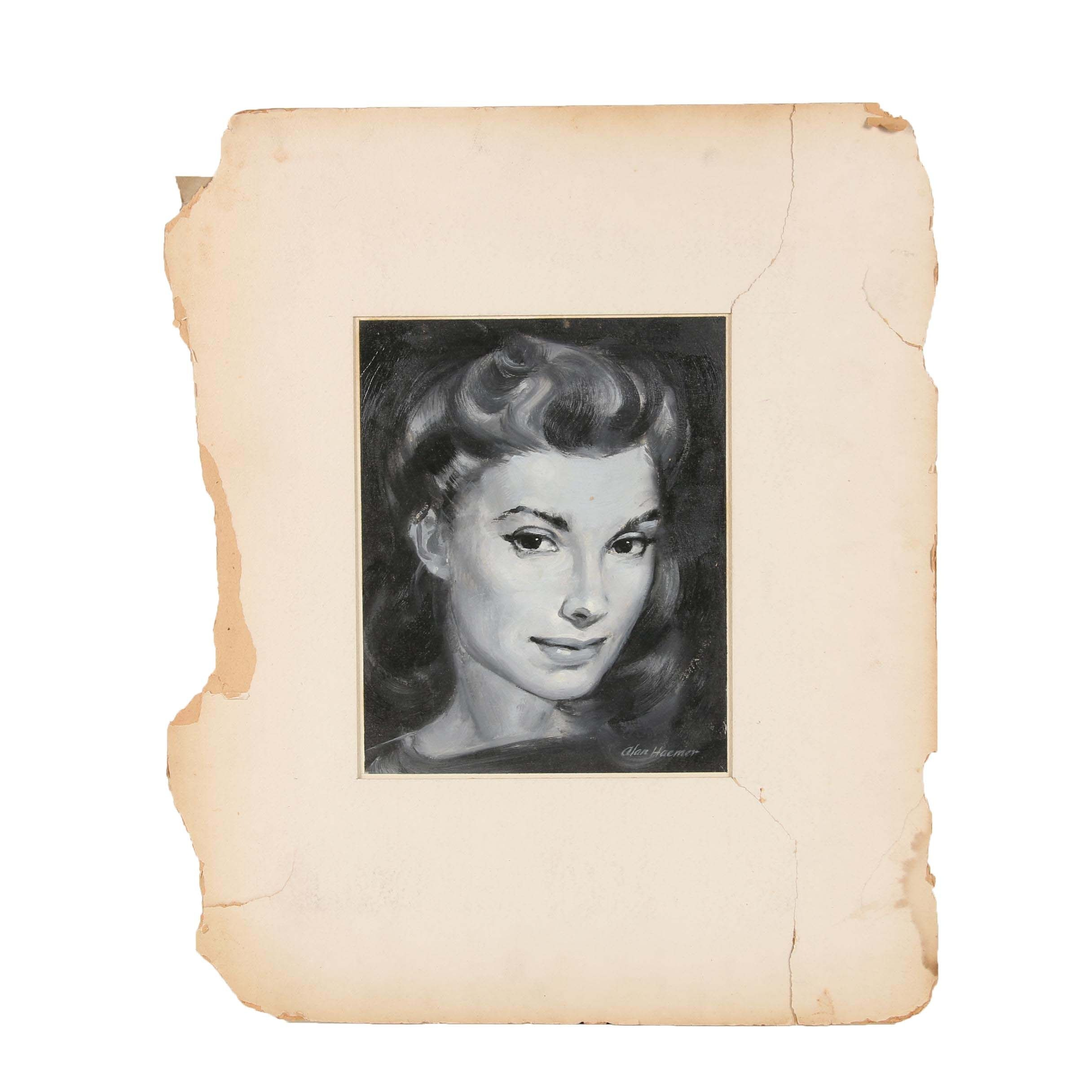 Alan Haemer Mid 20th Century Oil Portrait of a Woman