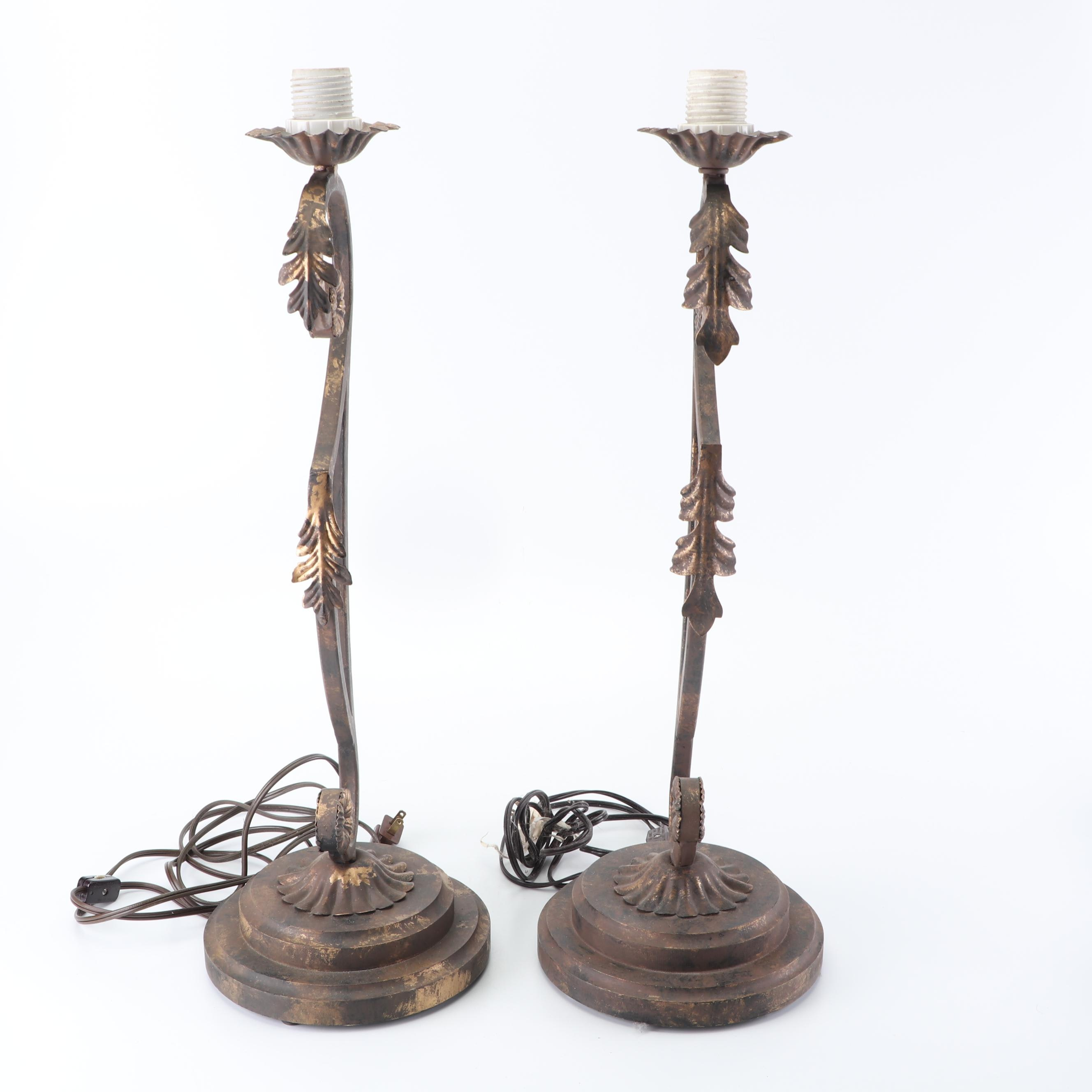 Acanthus Leaf and Floret Motif Curved Metal Torchiere Table Lamps