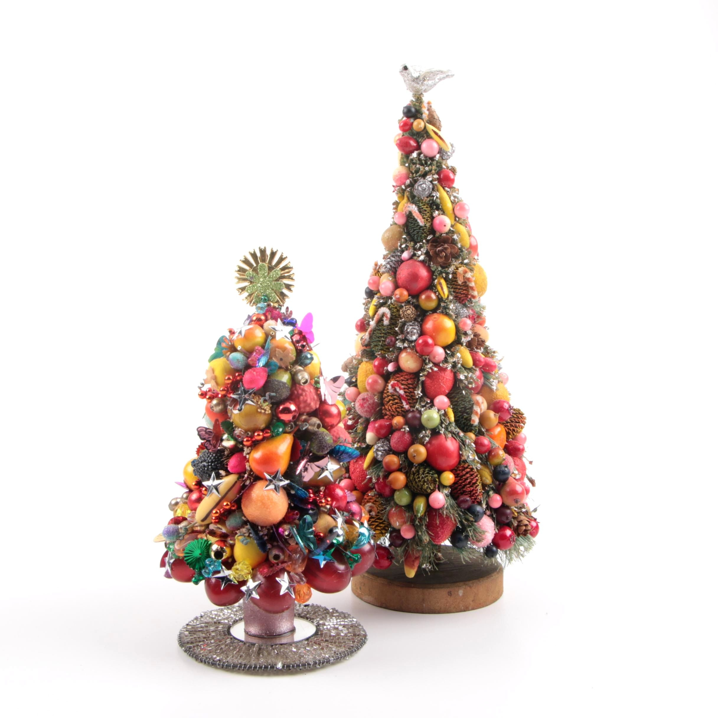 Two Vintage Embellished Christmas Trees