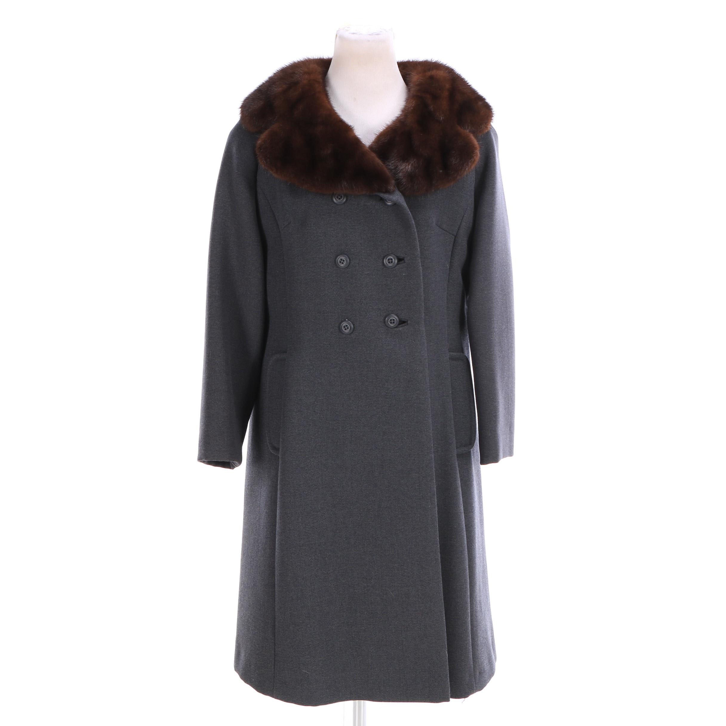 Women's Vintage Kaplowitz Wool Blend Coat with Mink Fur Collar