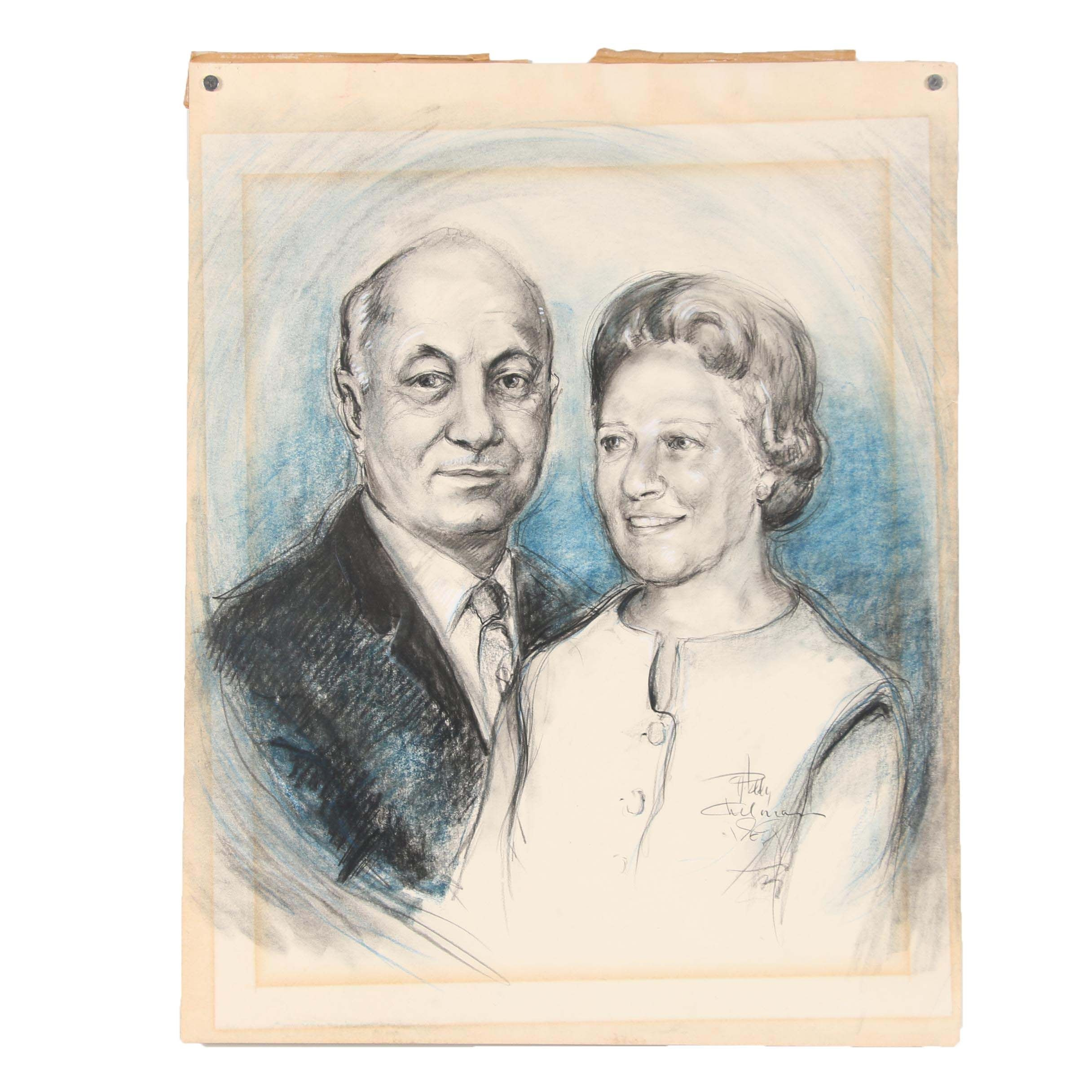 1969 Charcoal and Pastel Portrait Illustration