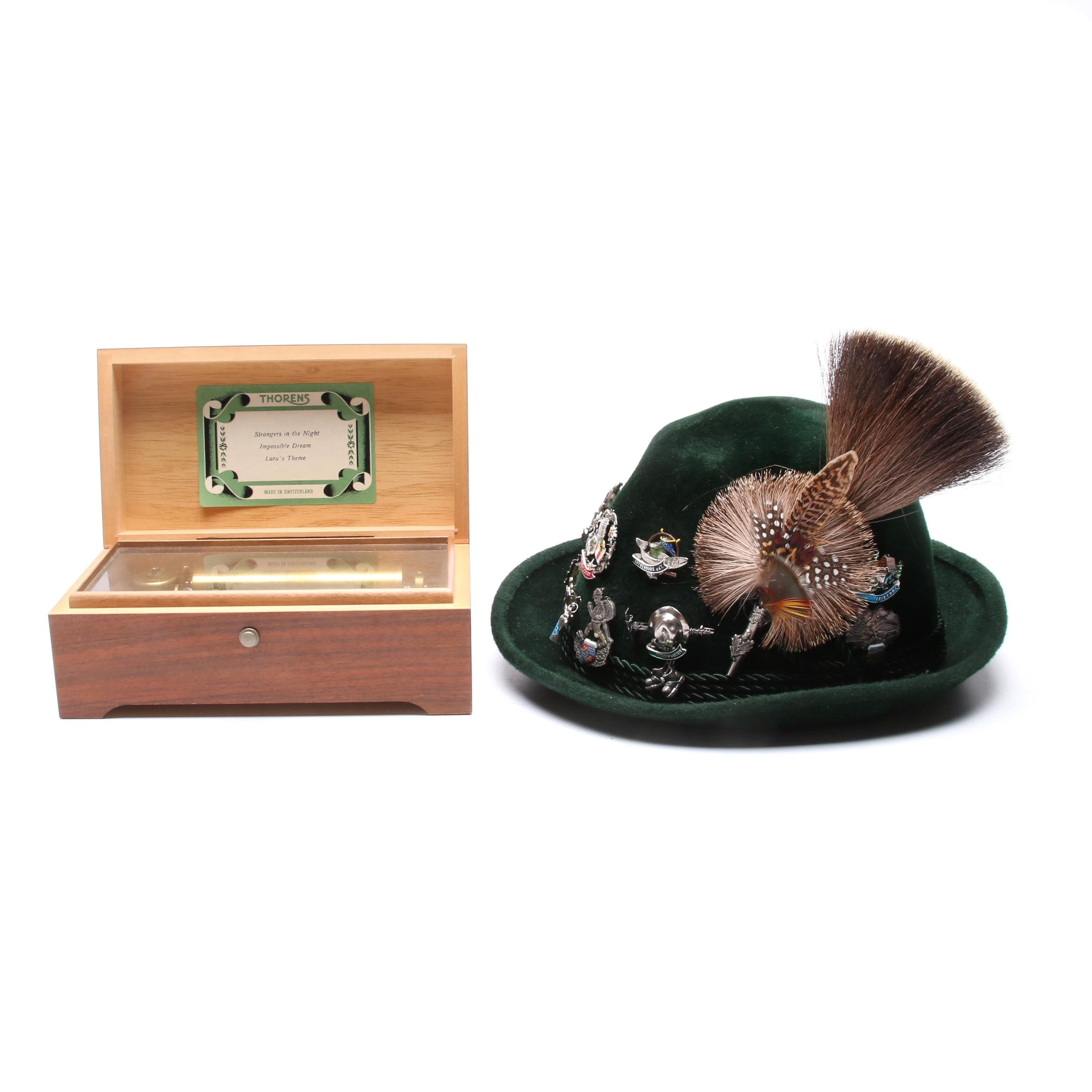 Tyrolean Hat and Thorens Swiss Music Box