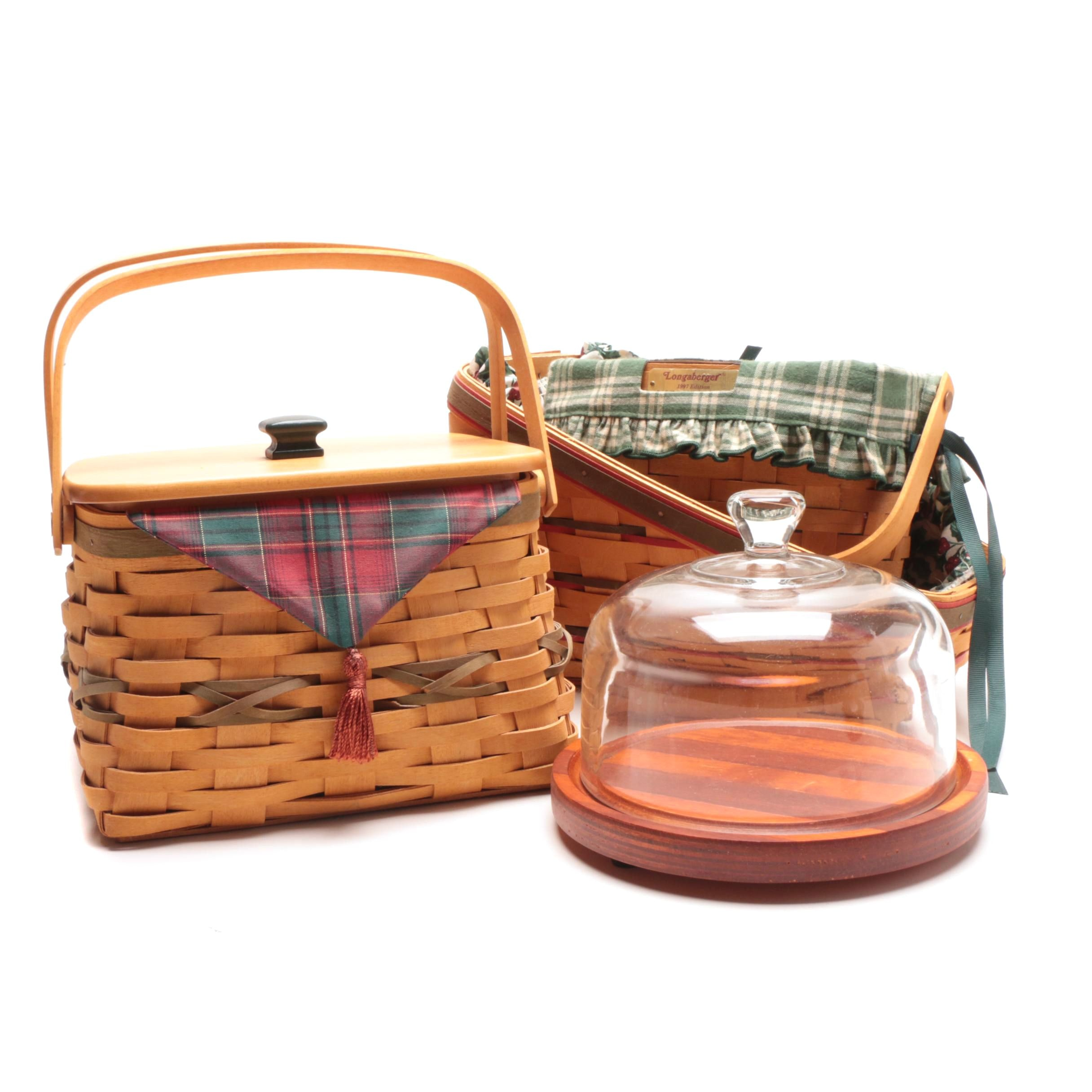 Three Longaberger Baskets with Cheese Plate