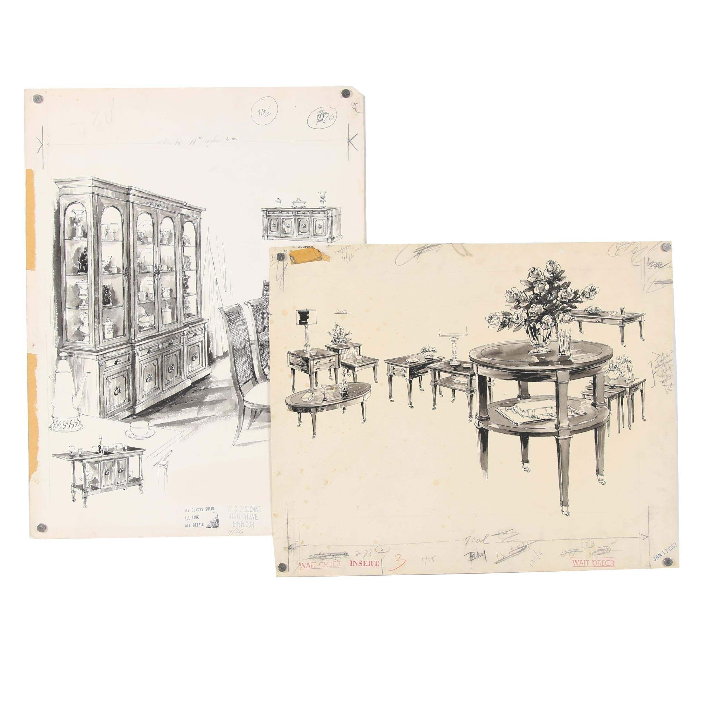 Max Walter Mid 20th Century Furniture Design Illustrations for W. & J. Sloane