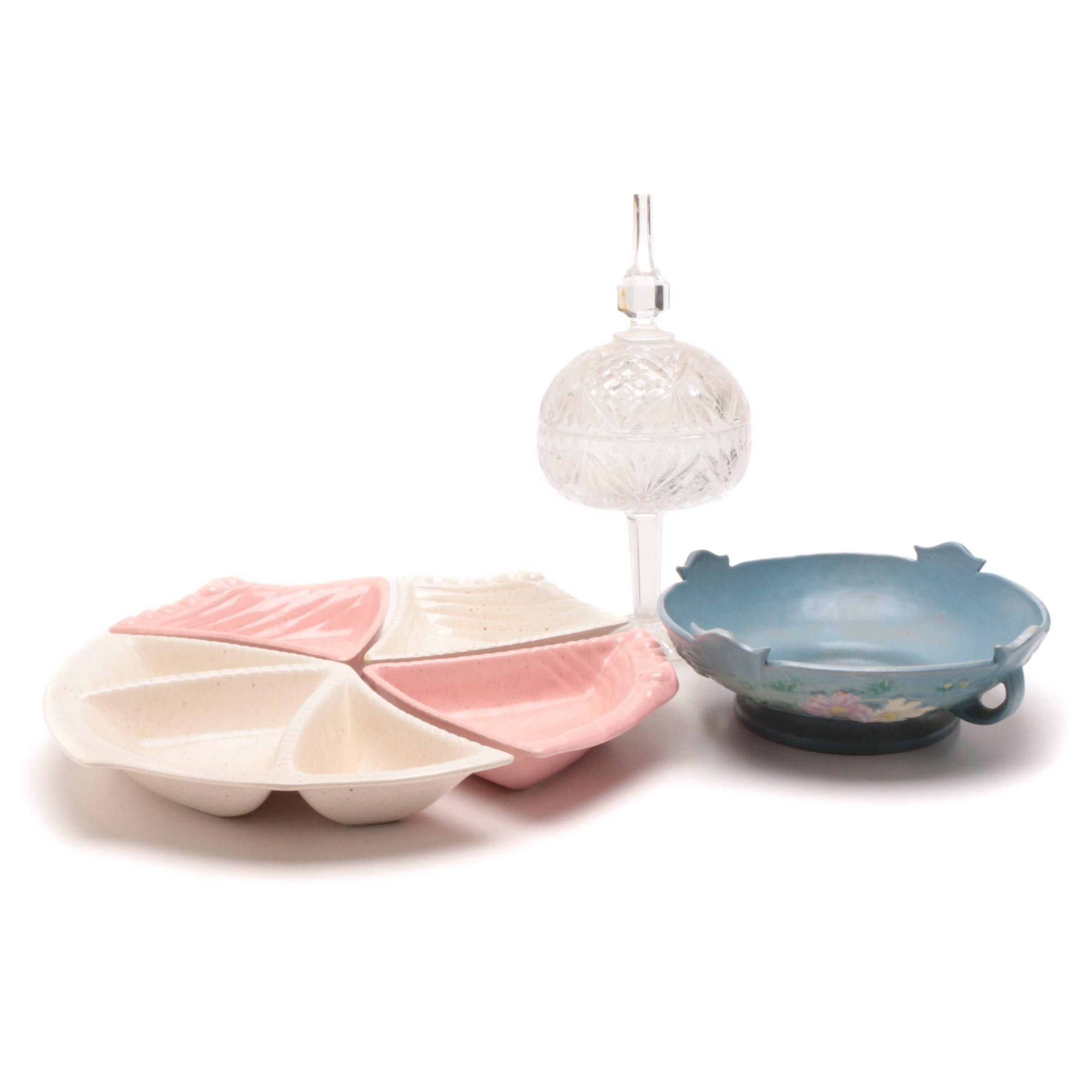 """Roseville """"Cosmos"""" Bowl, California Pottery Trays with Pressed Glass Candy Dish"""