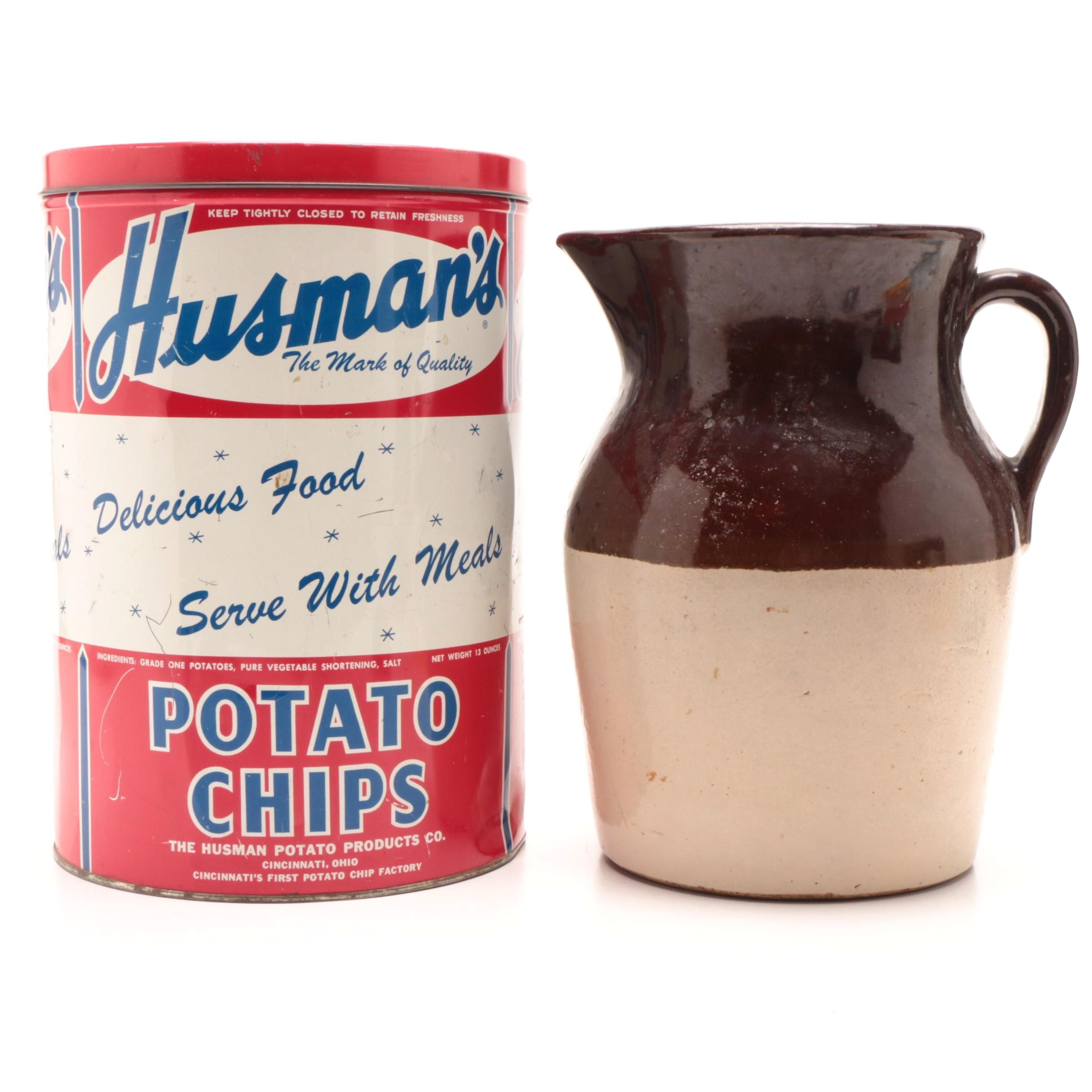 Stoneware Pottery Pitcher Marked USA with 1950s Husman's Potato Chip Can