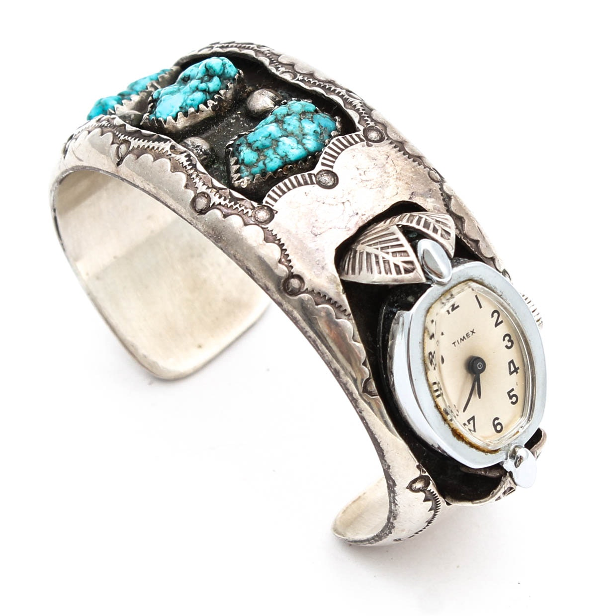 Vintage D.A. Jim Sterling Silver Turquoise Cuff Style Timex Wristwatch