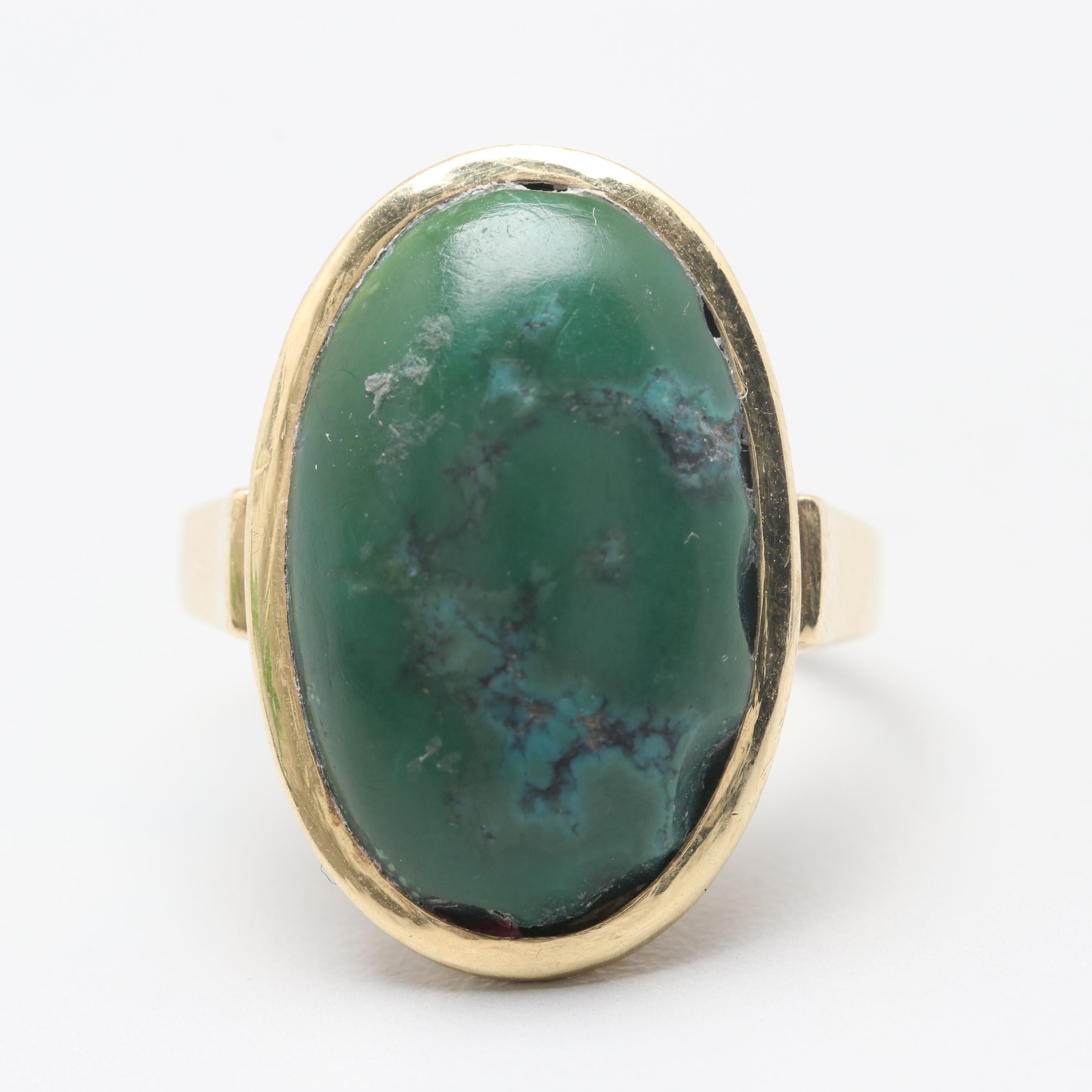 14K Yellow Gold Turquoise Ring