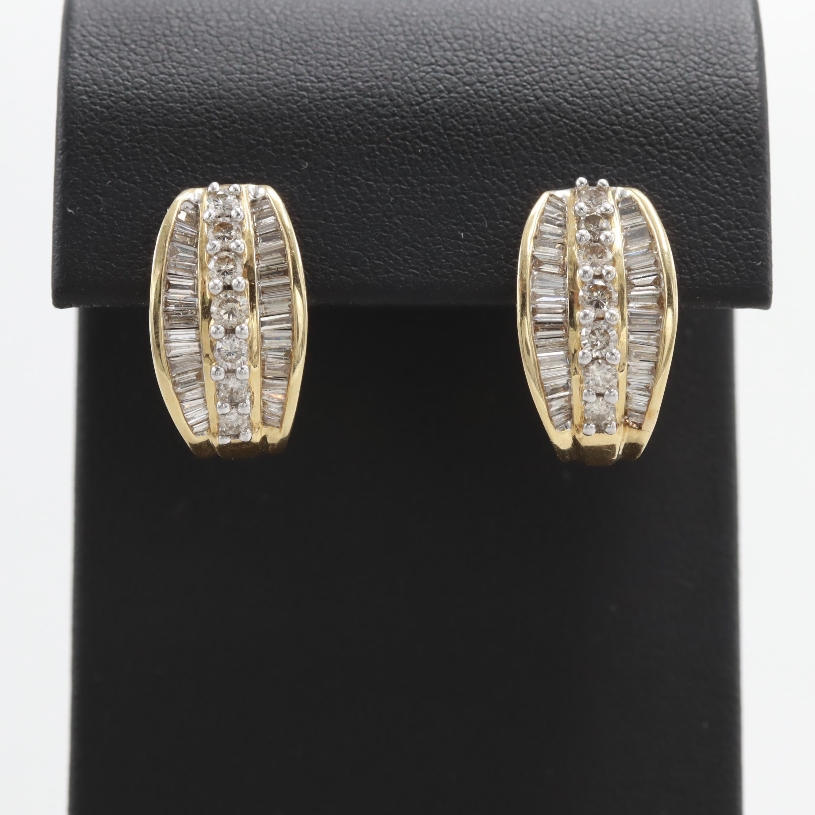 14K Yellow Gold 1.75 CTW Diamond Earrings