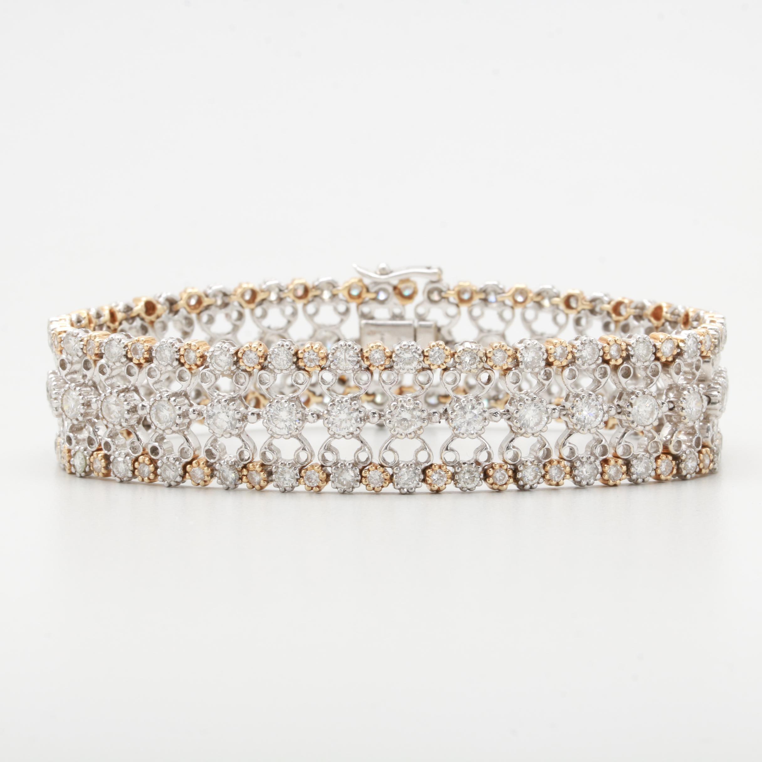 Ciemme Jewels Limited 14K White and Yellow Gold 5.88 CTW Diamond Bracelet