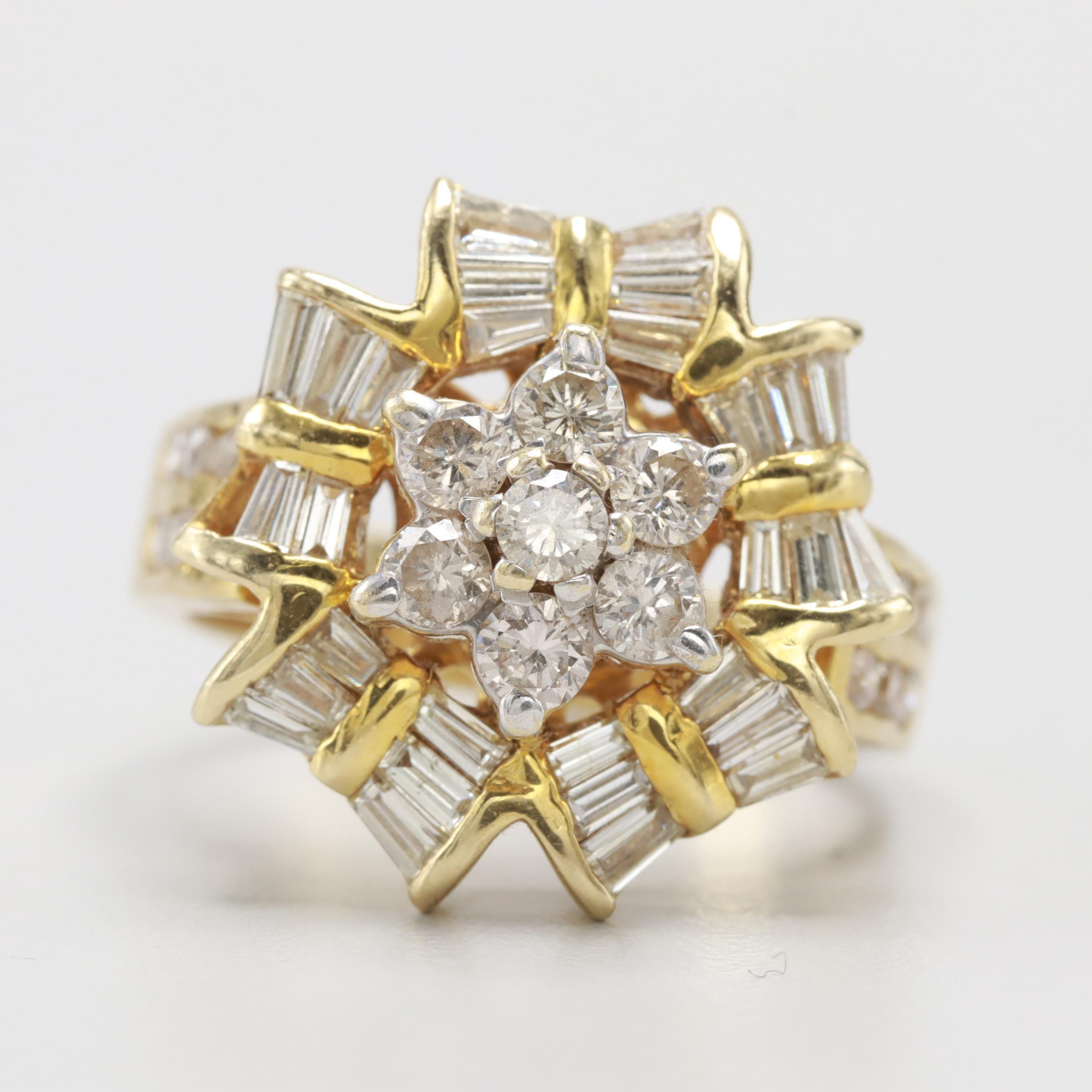 Circa 1950s 14K Yellow Gold 1.23 CTW Diamond Cluster Ring
