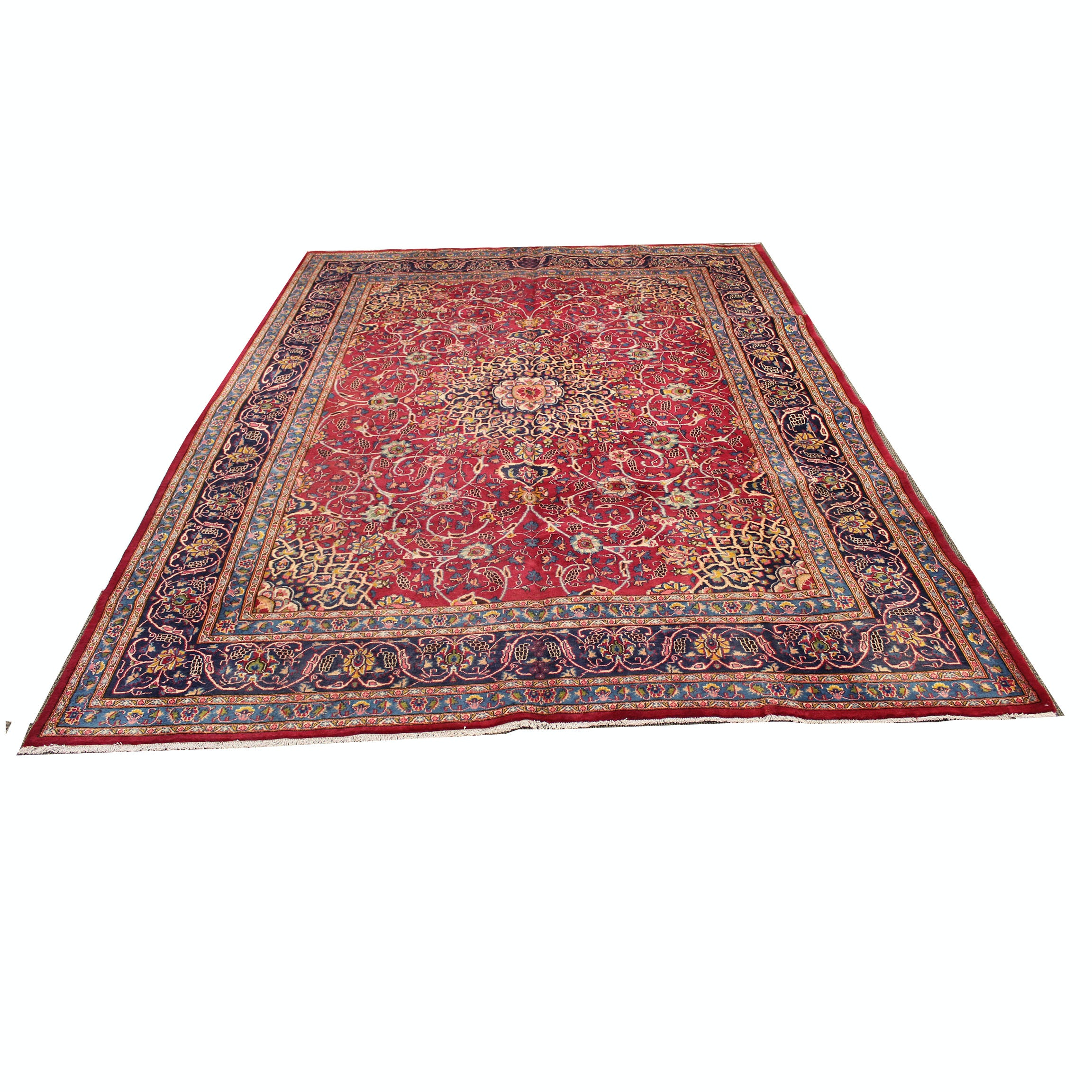 9'8 x 12'8 Semi-Antique Hand-Knotted Persian Mashhad Room Sized Rug
