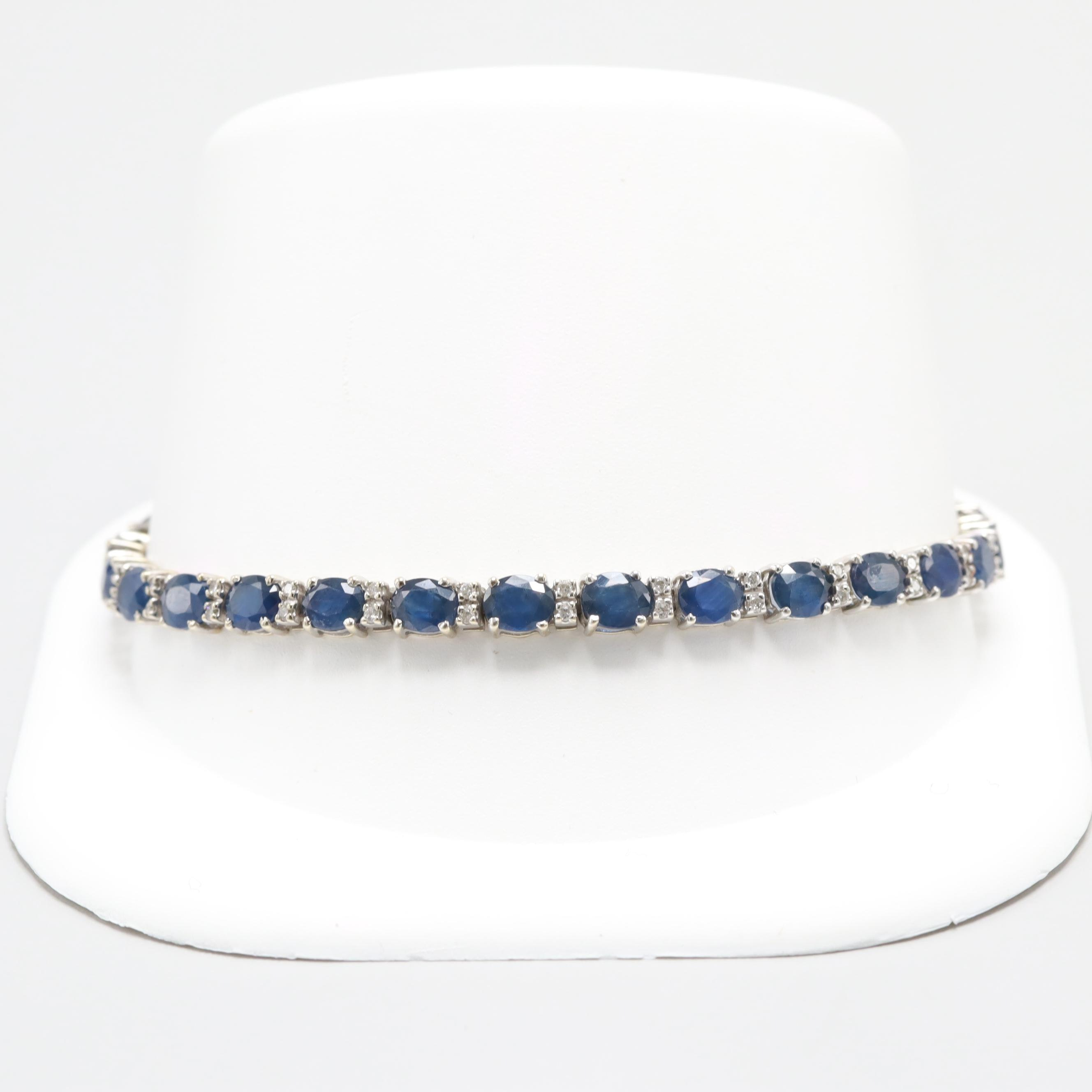 Effy 14K White Gold Blue Sapphire and Diamond Bracelet