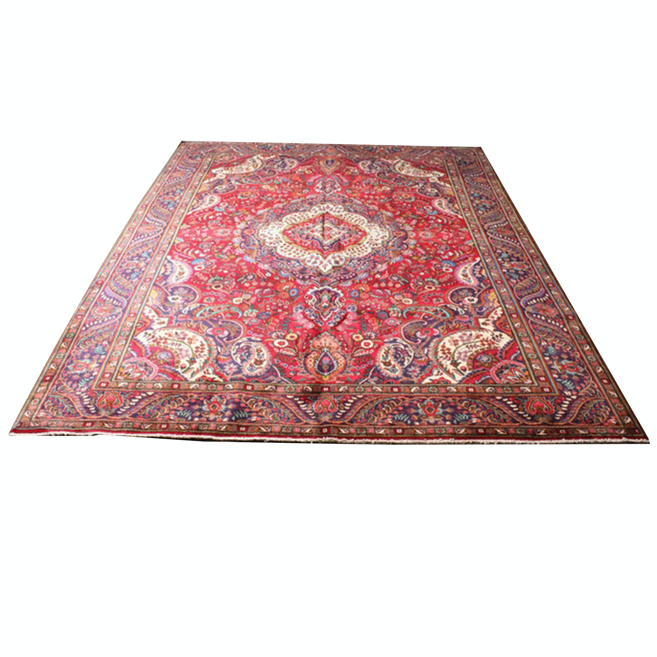 10' x 13' Semi-Antique Hand-Knotted Persian Tabriz Room Sized Rug
