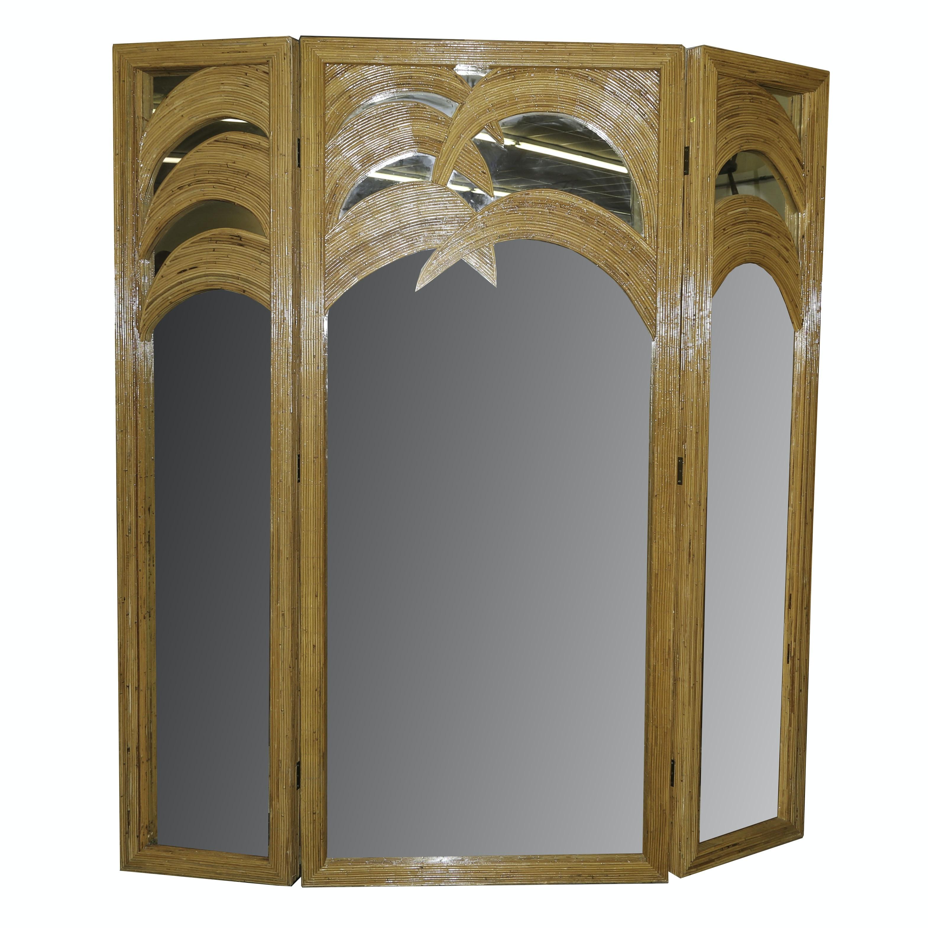 Contemporary Mirrored Rattan Screen
