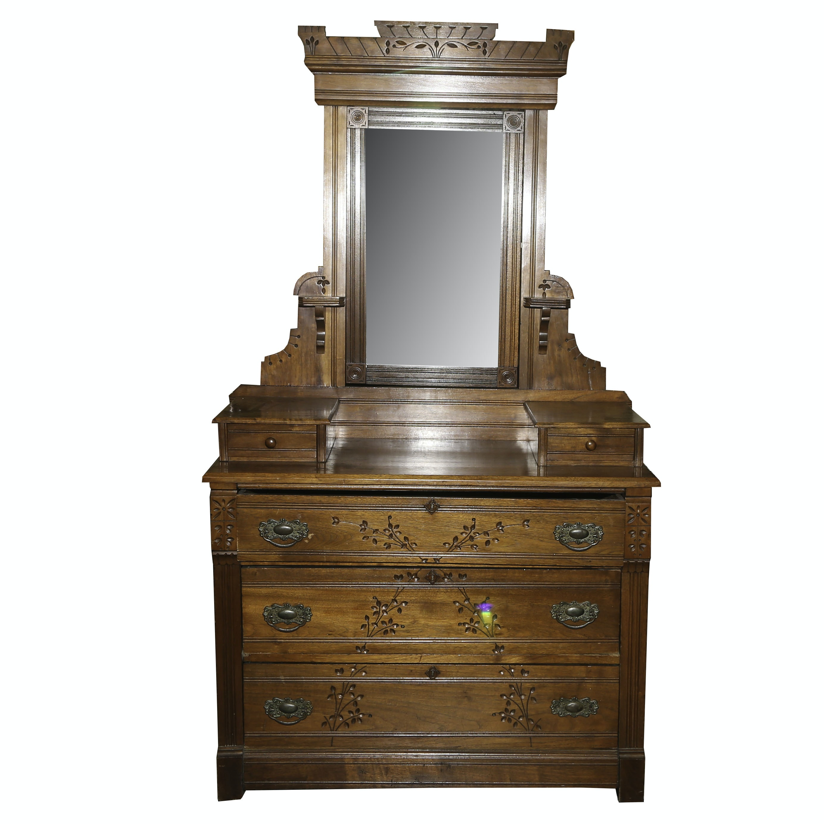 Victorian Walnut Chest with Mirror by O.D. Hartford, Late 19th Century
