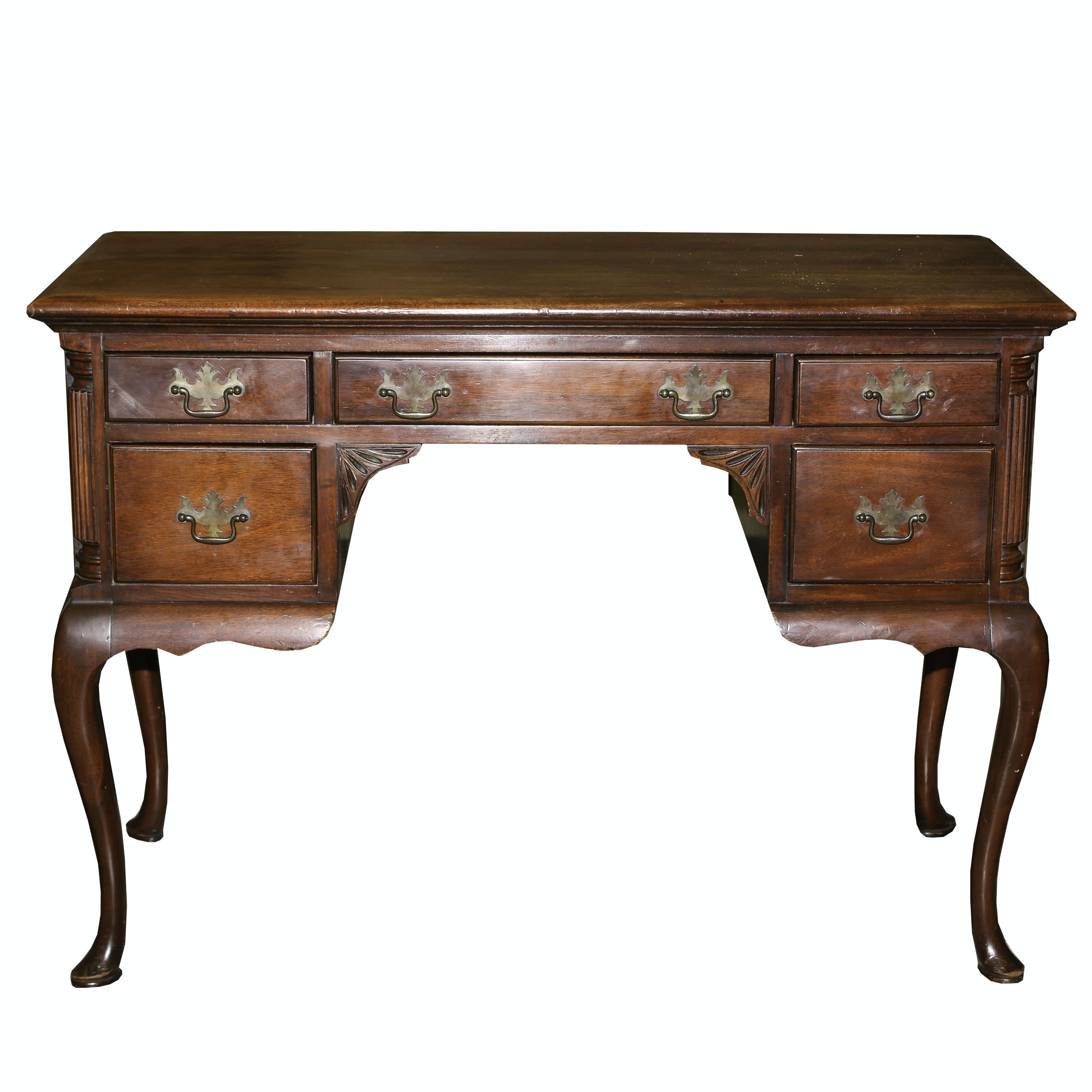 Queen Anne Style Mahogany Desk by Drexel, Mid-20th Century