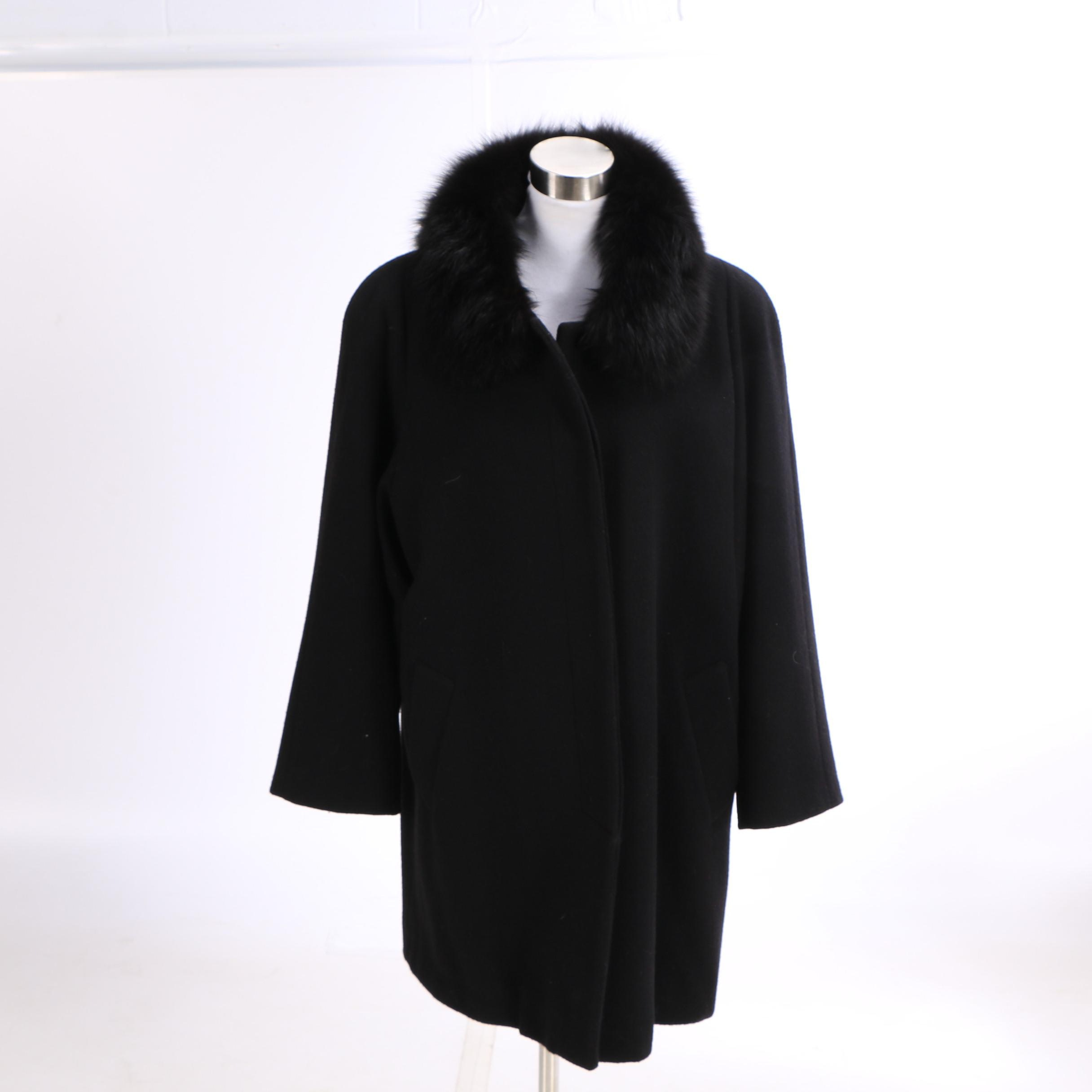 Forecaster of Boston Black Wool Swing Coat with Fox Fur Collar