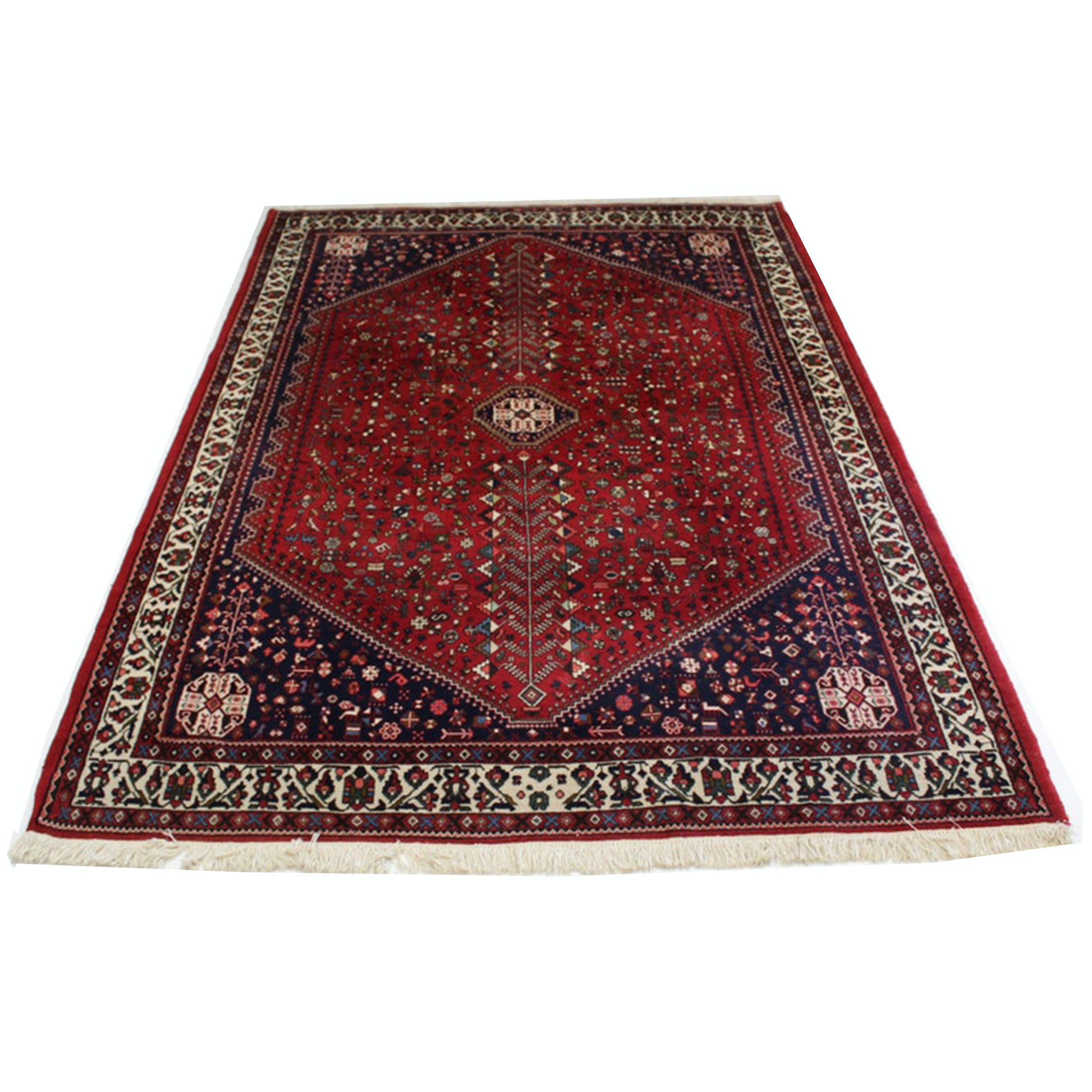 6'8 x 10' Circa 1940's Hand-Knotted Persian Abadeh Shiraz Rug