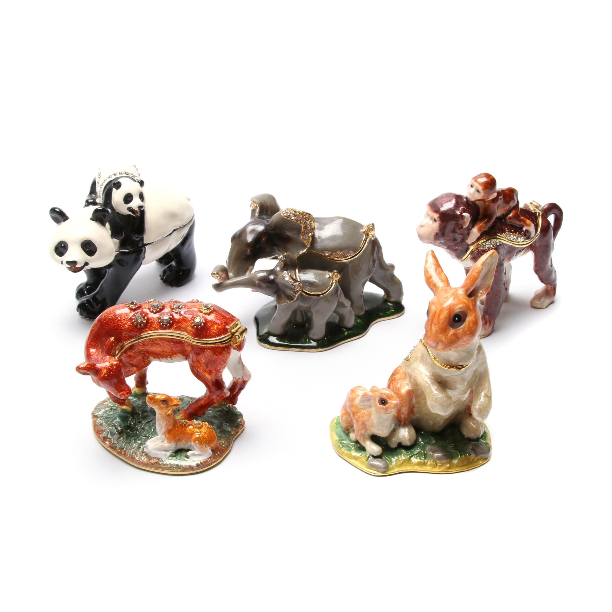 Animal Themed Jeweled and Enameled Trinket Boxes