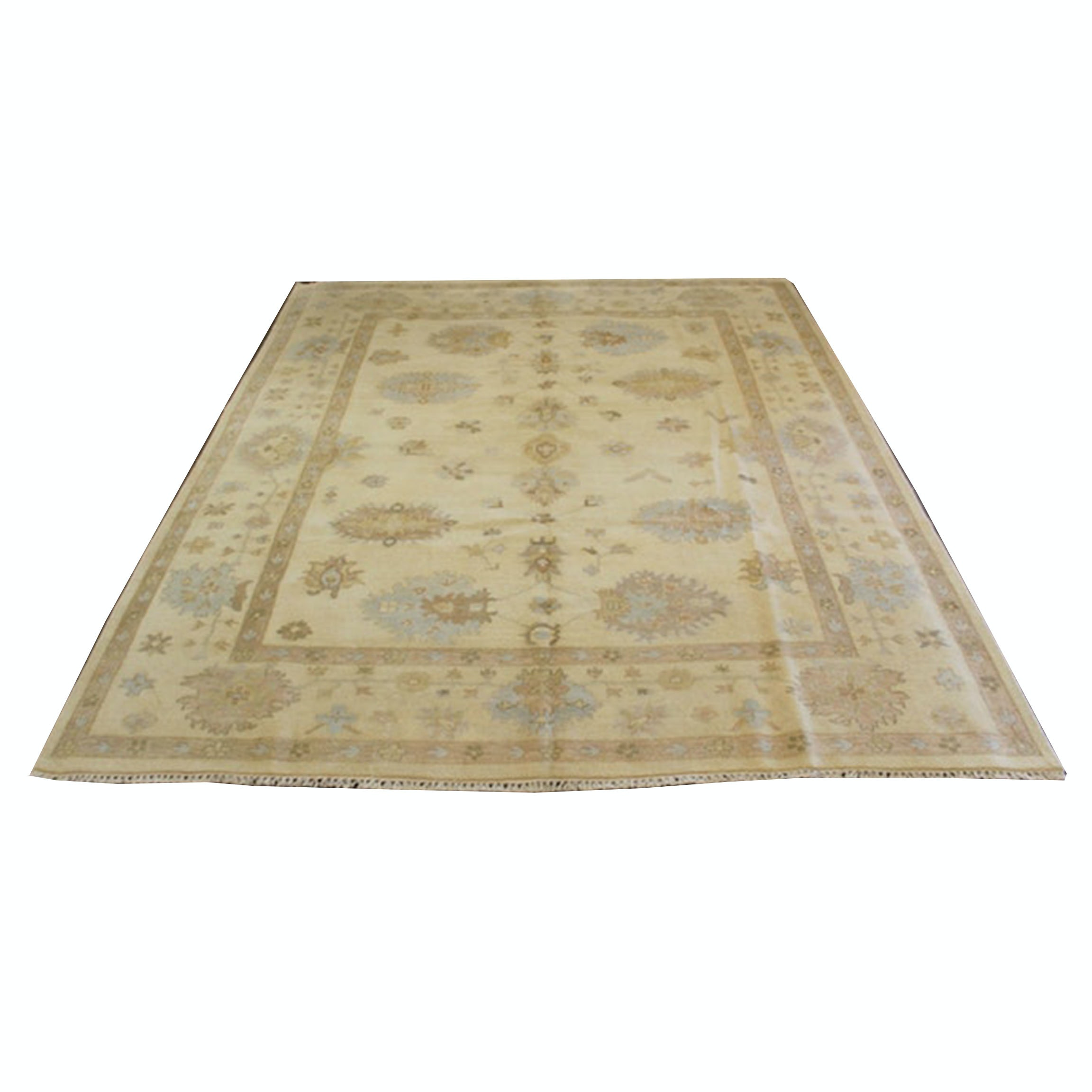 9' x 12' Hand-Knotted Indo-Turkish Oushak Room Sized Rug