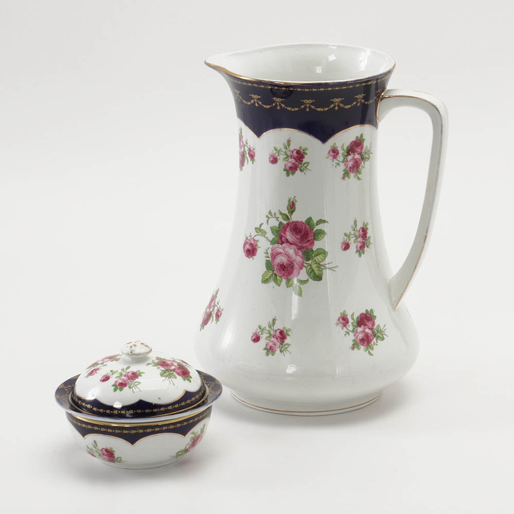 Wedgwood Imperial Porcelain Wash Pitcher and Covered Jar