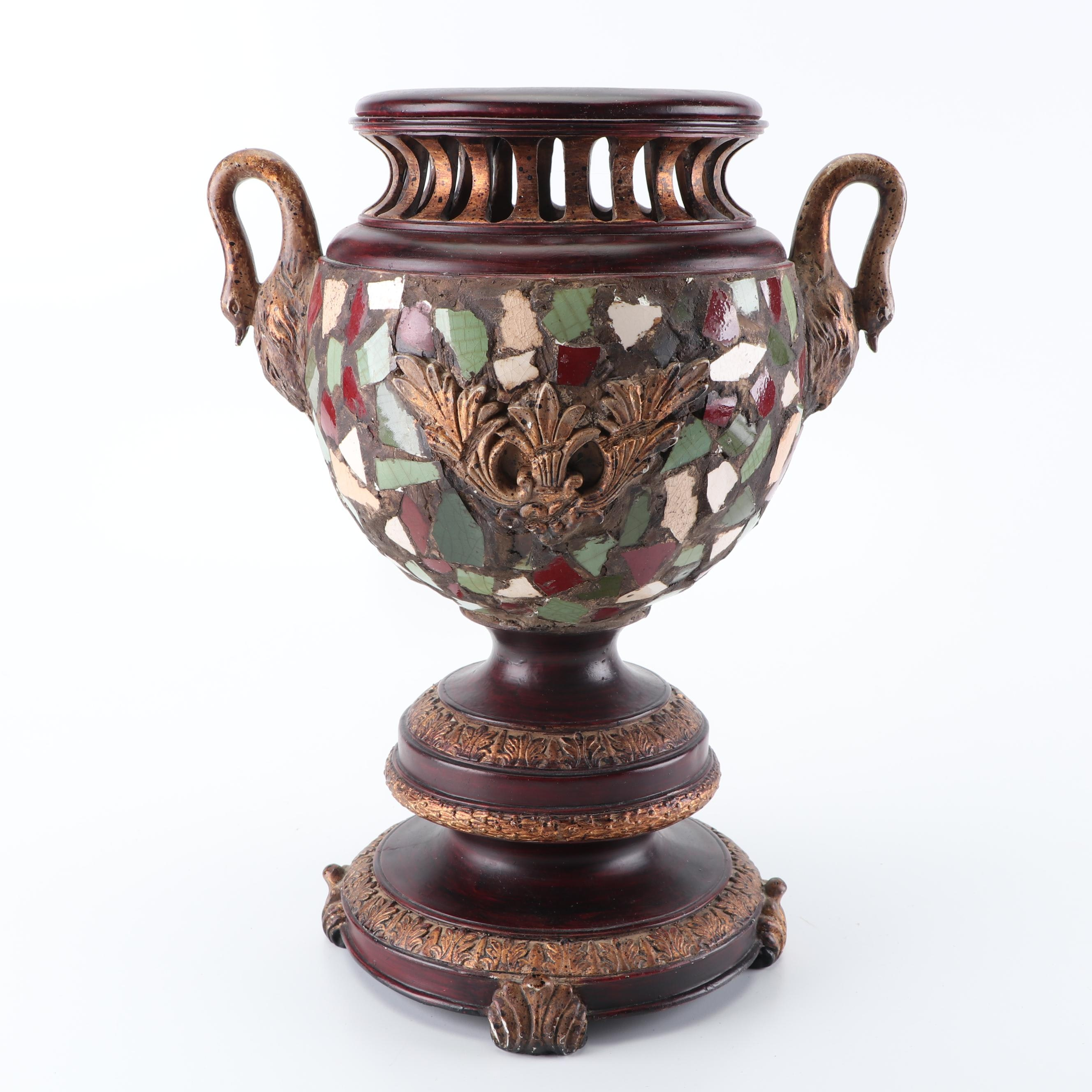 Mosaic Urn with Figural Swan Handles
