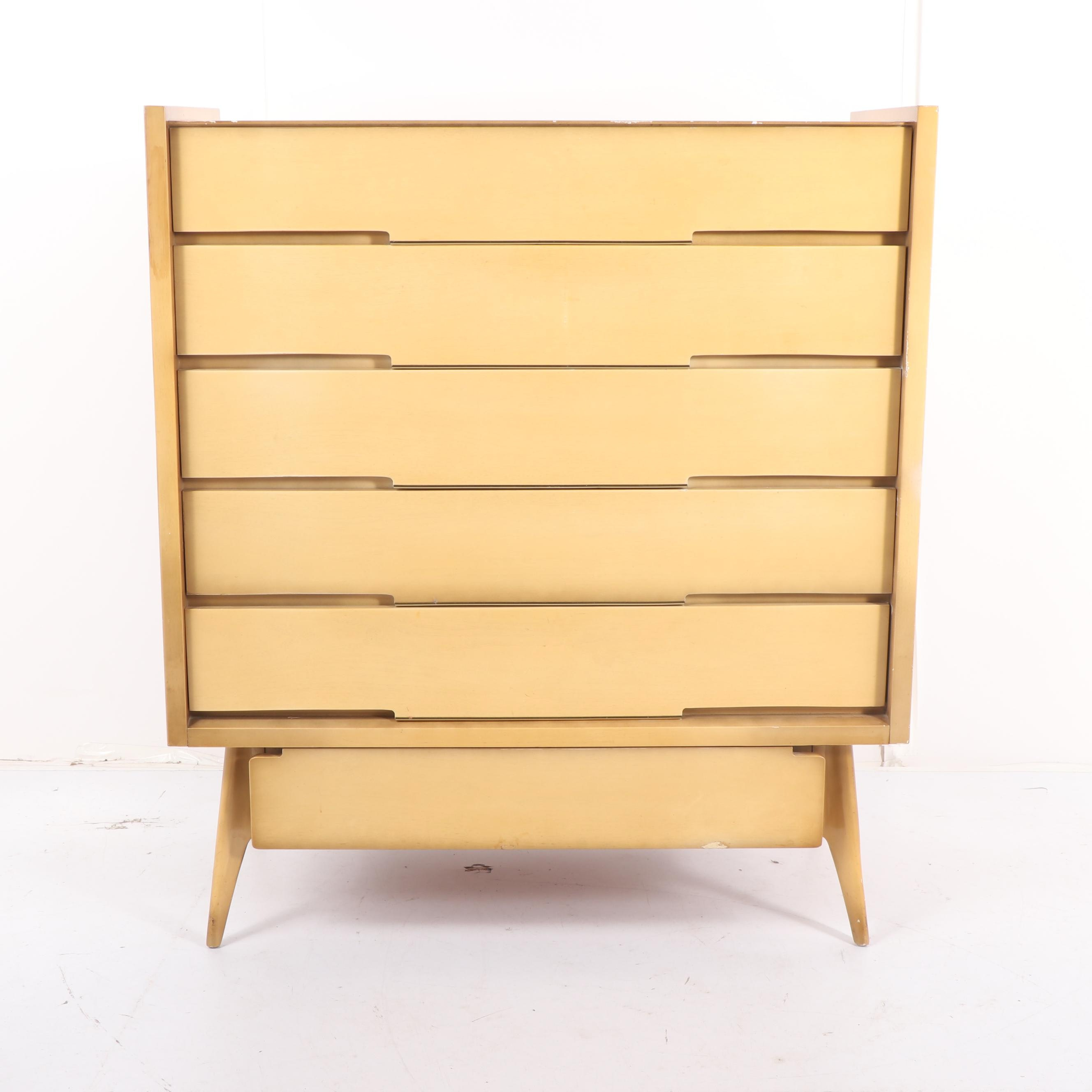 Mid Century Modern Veneered Tall Chest of Drawers, Mid-20th Century