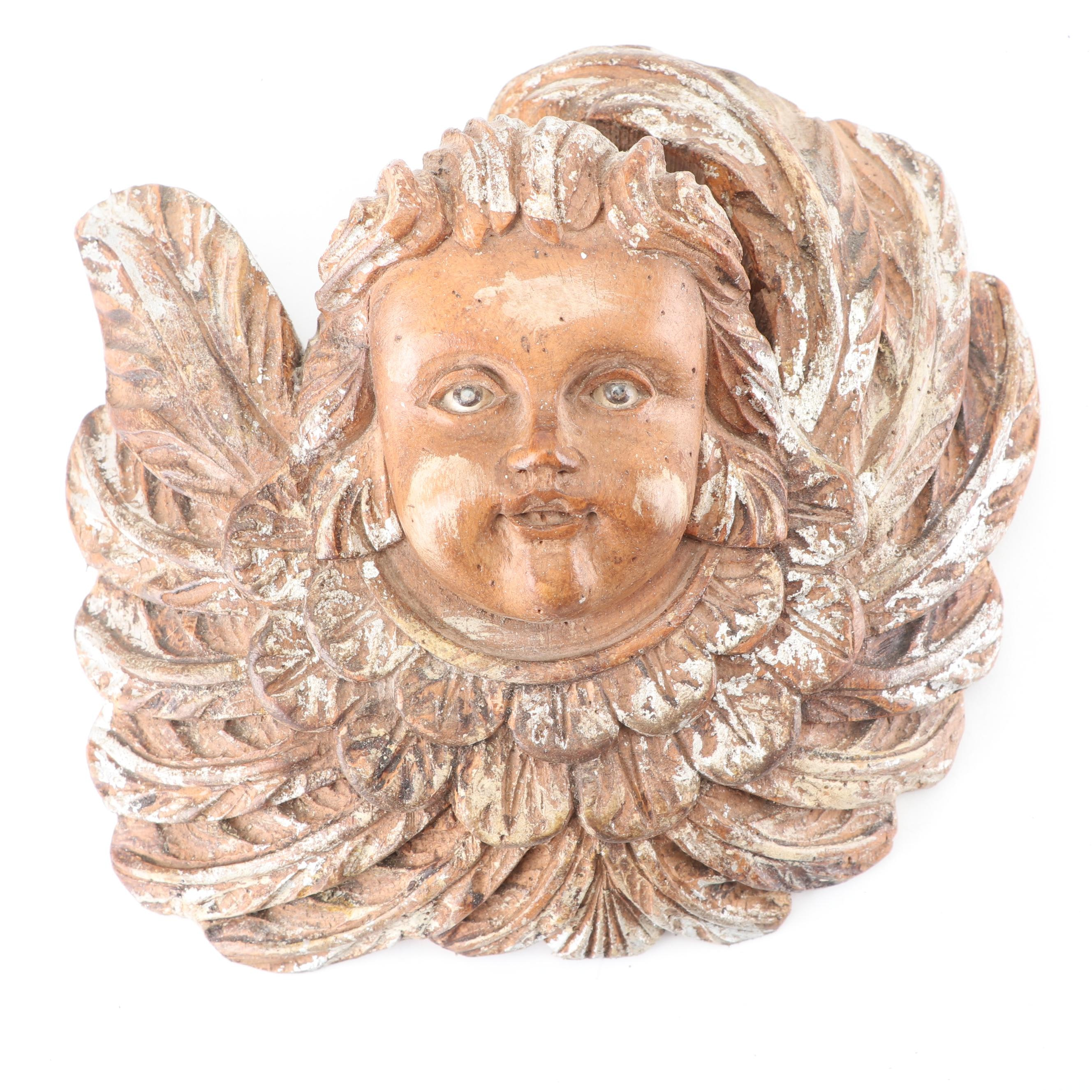 Carved Wood Wall Mount of Putto