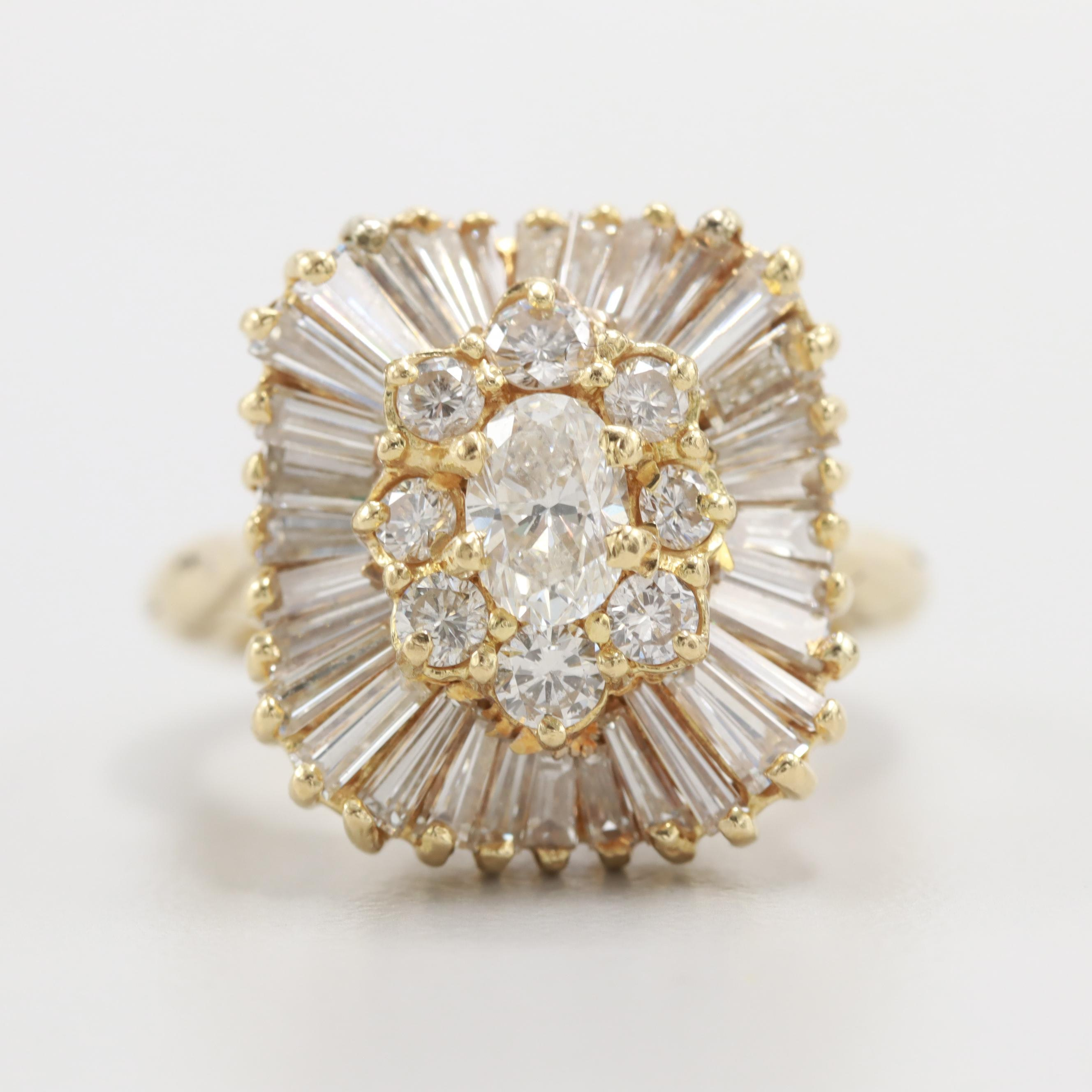 Circa 1950s 14K and 18K Yellow Gold 2.25 CTW Diamond Ballerina Ring