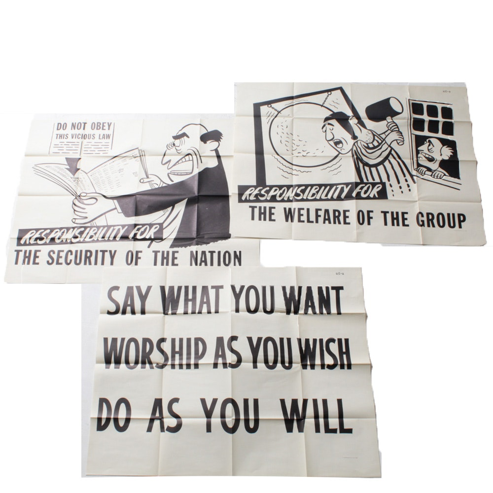 Mid Century U. S. Government Printing Office Black and White Posters