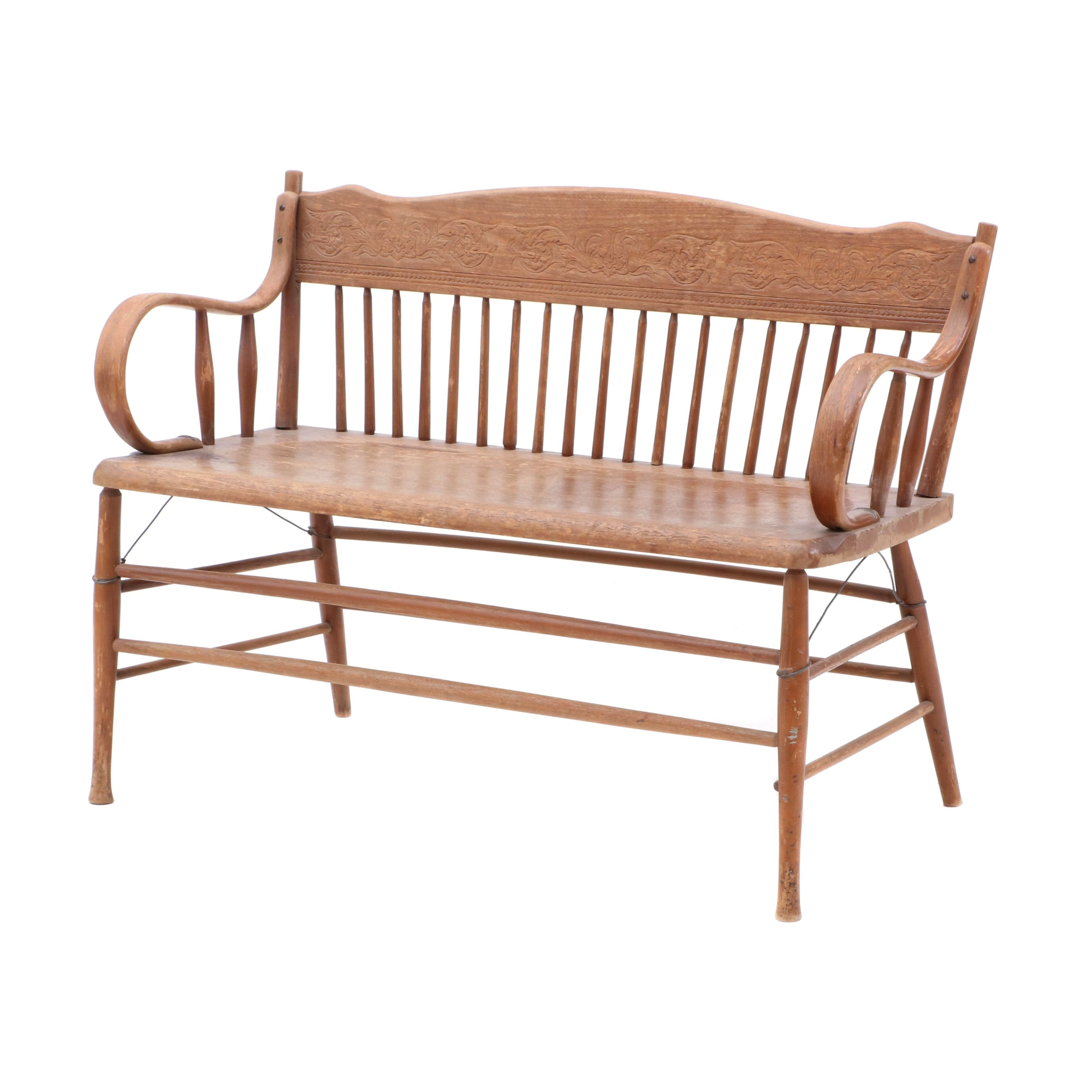 Pressed Back Birch Bench, Early 20th Century