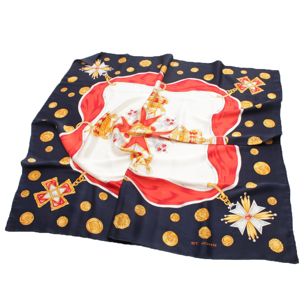 St. John Hand-Rolled and Stitched Multicolor Silk Scarf