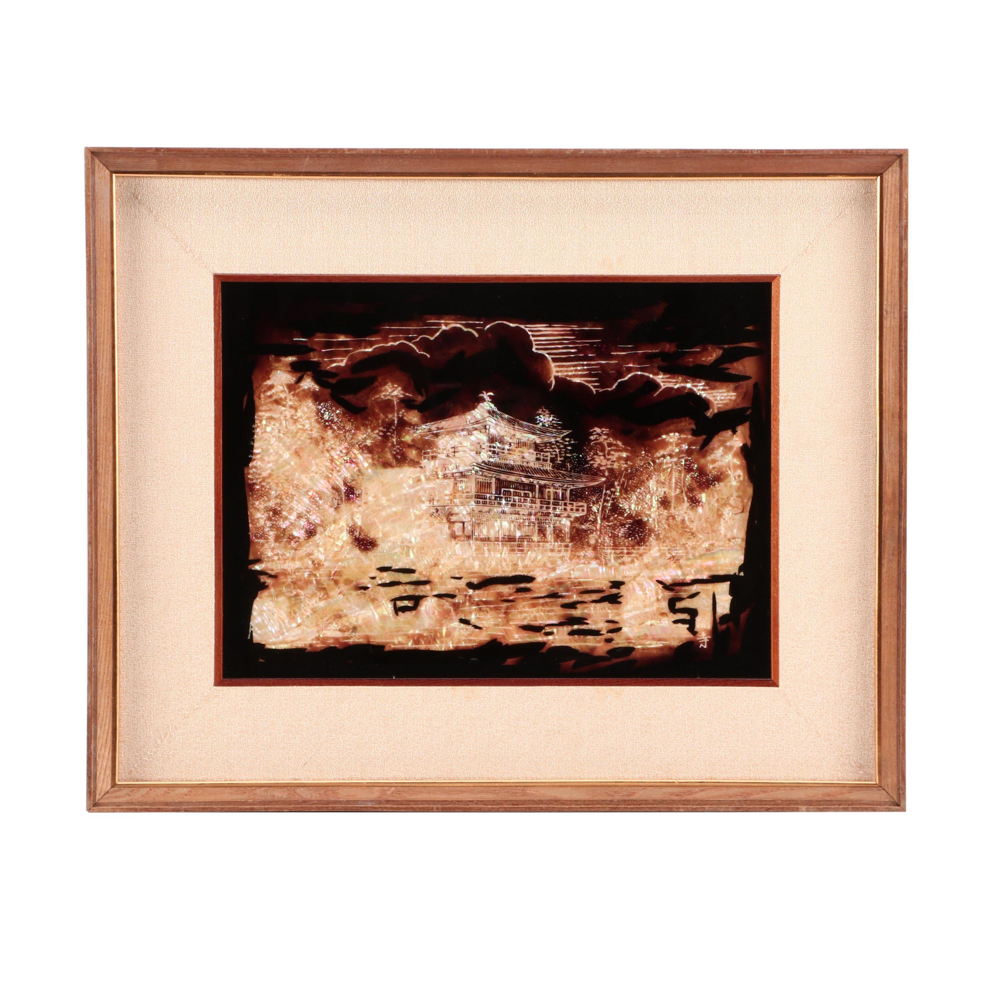 "Japanese Painting Over Capiz Shell ""Golden Pavilion"""