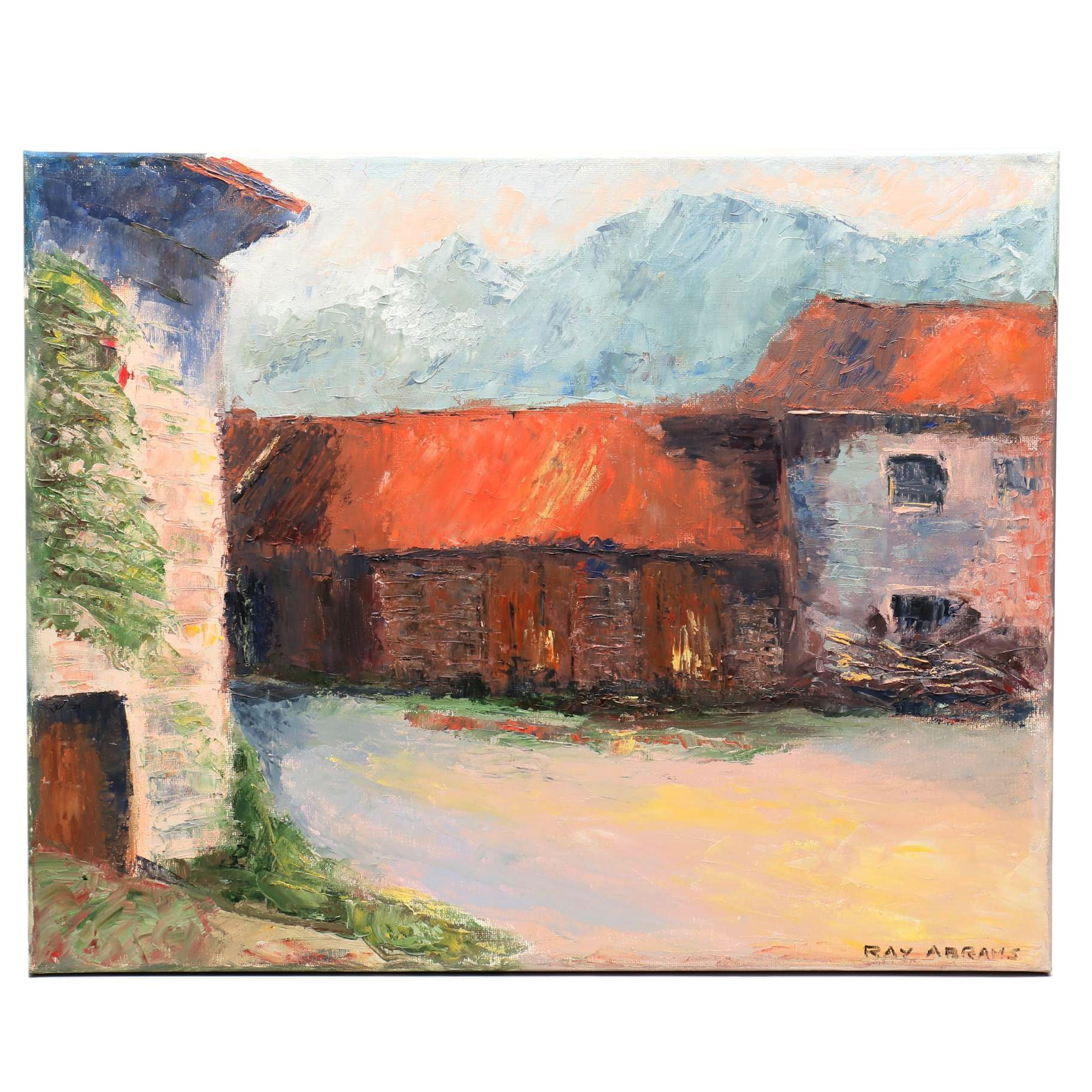 Ray Abrams Oil Painting of Farm Buildings