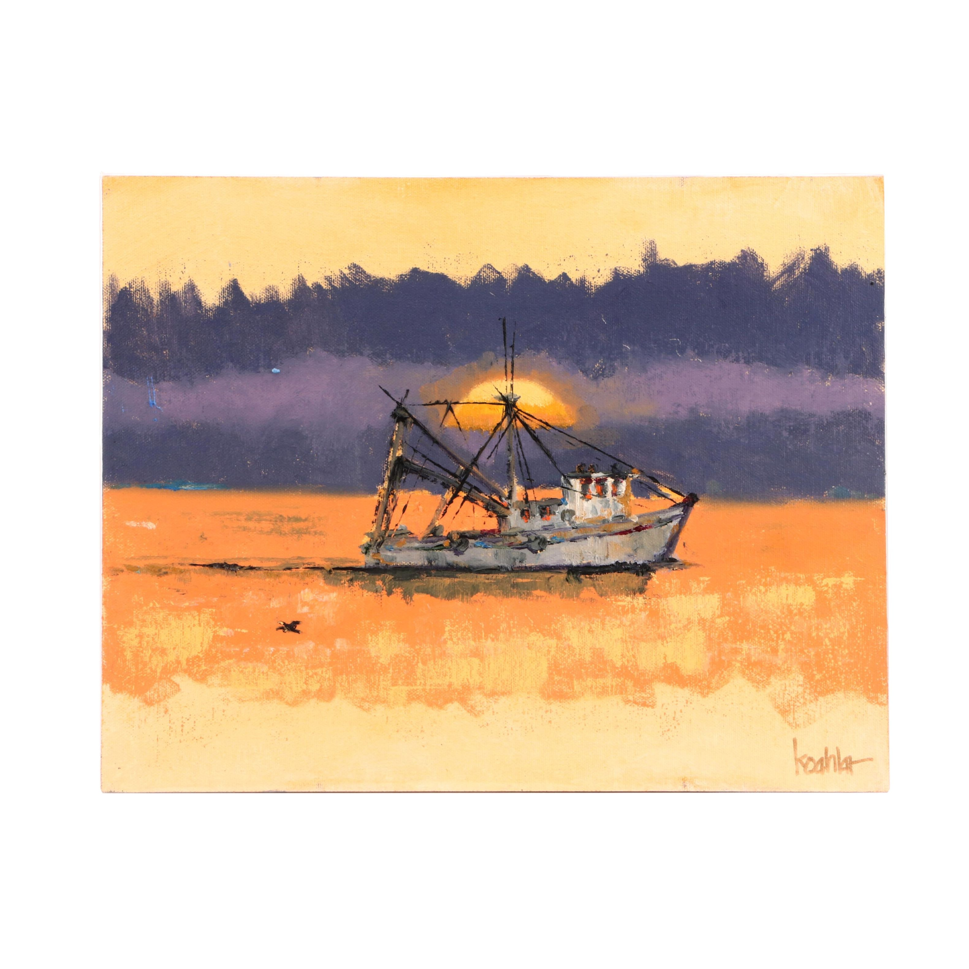 "Rick Koehler Oil Painting "" Shrimpers Coming Home"""