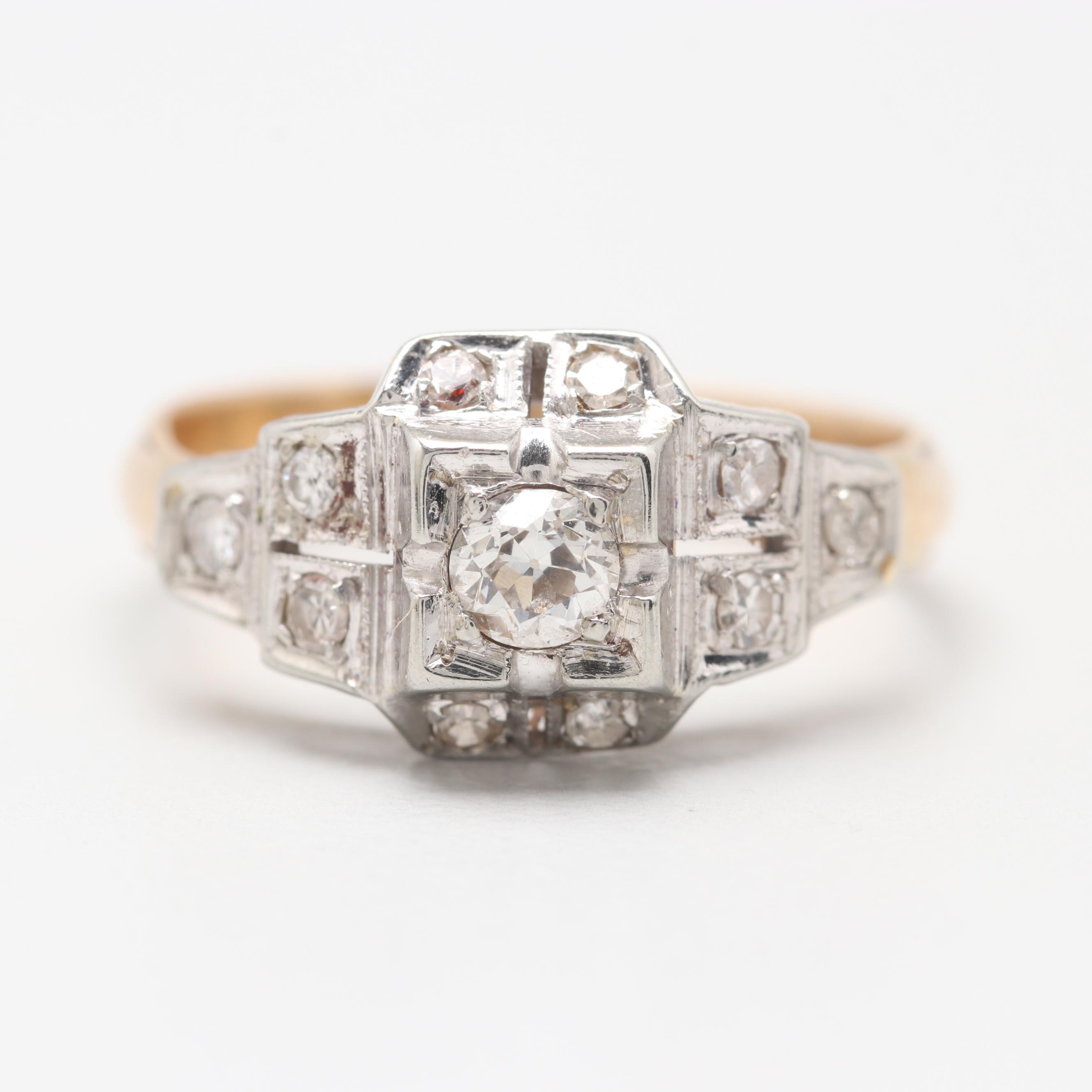 14K Yellow and White Gold Old European Cut Diamond Ring