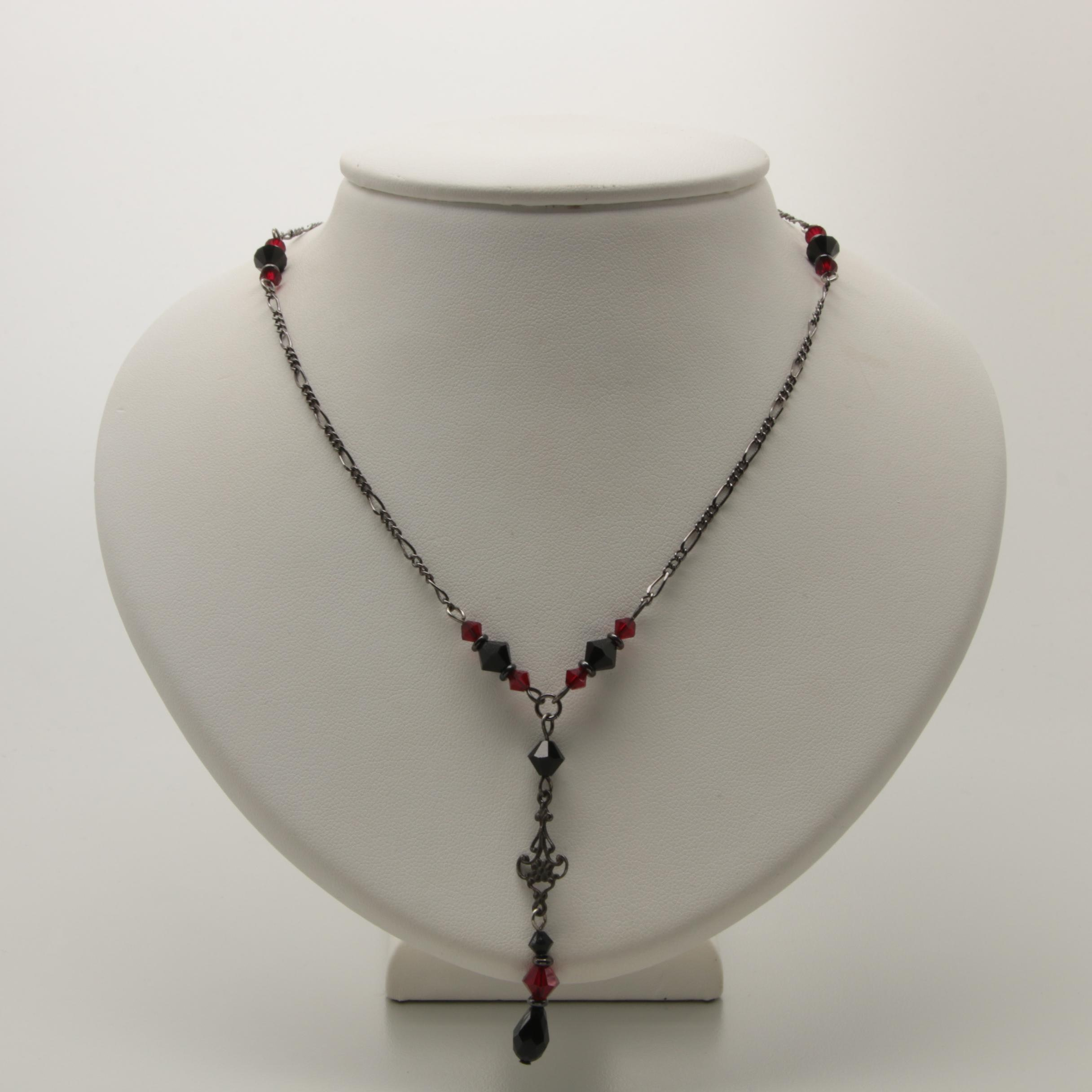 Oxidized Silver Tone Glass Beaded Necklace