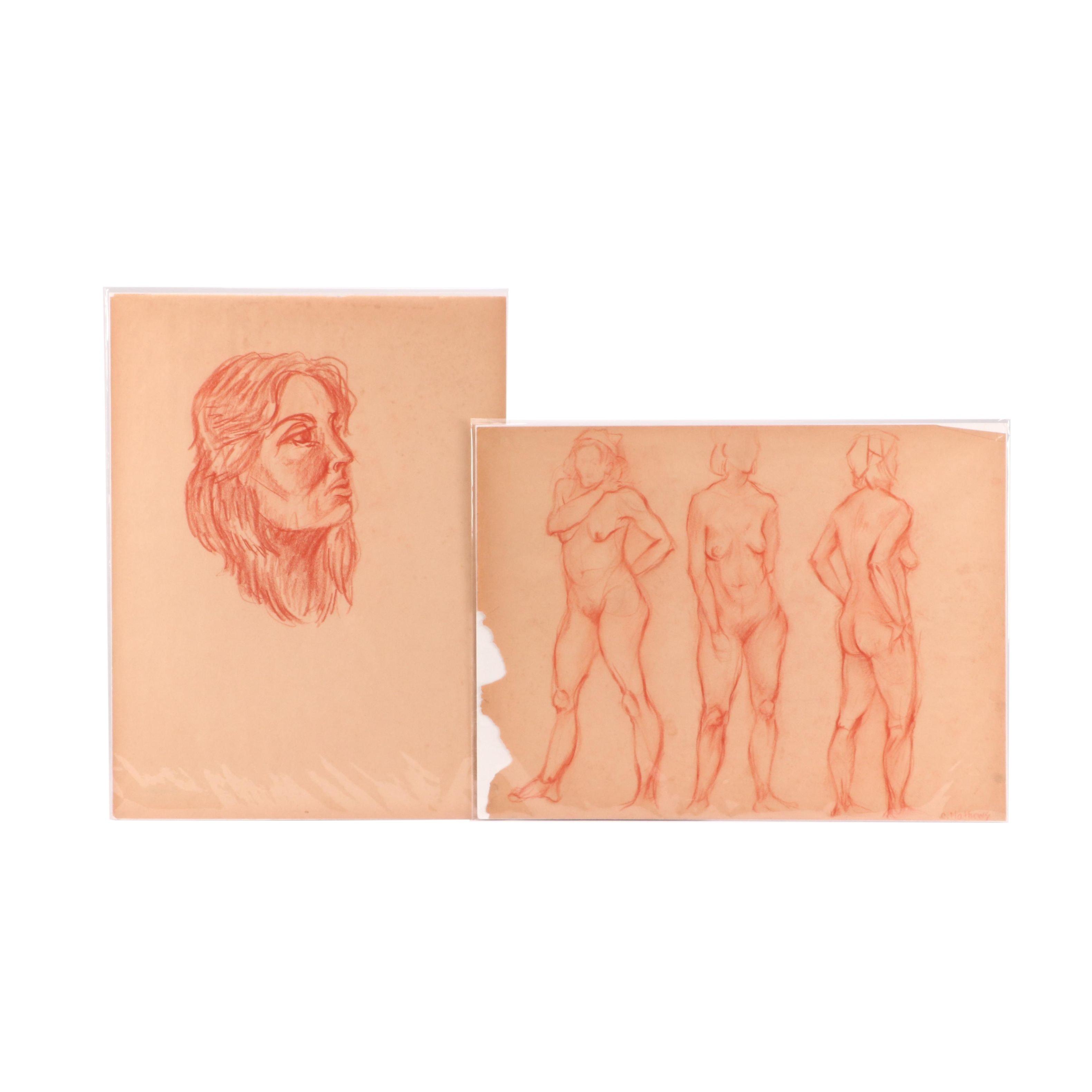 Carol Mathews Conté Crayon Academic Figure Drawings