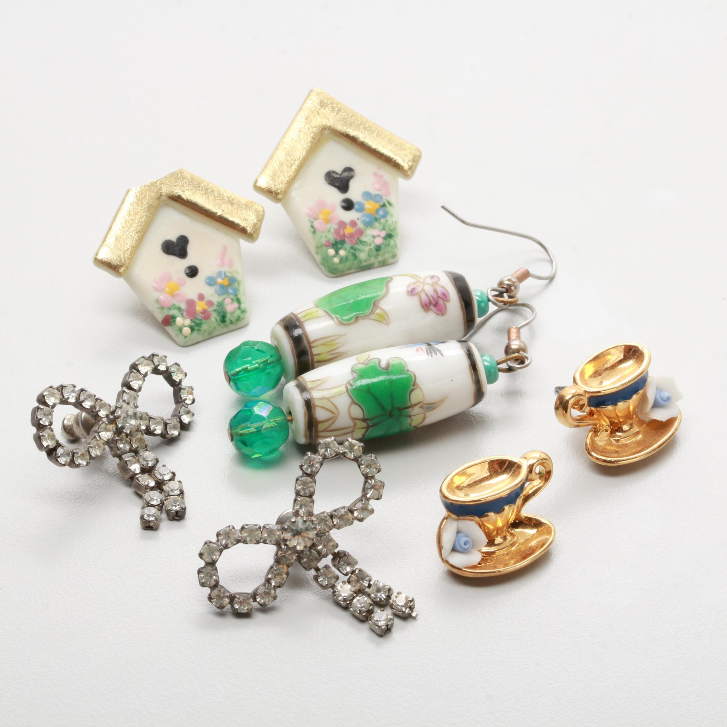 Assortment of Earrings Including Porcelain, Glass Crystal, and Enamel
